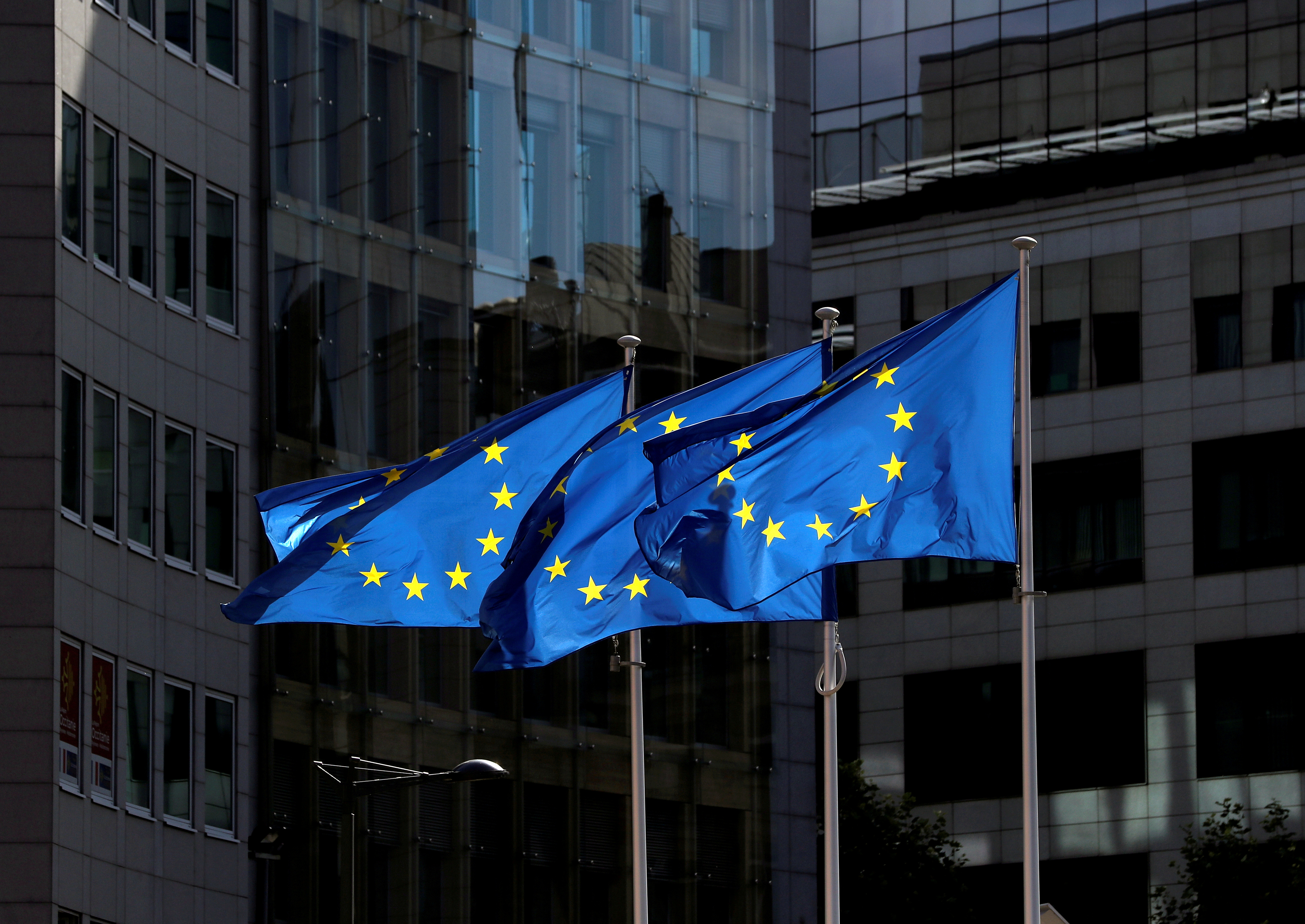 European Union flags flutter outside the European Commission headquarters in Brussels, Belgium August 21, 2020. REUTERS/Yves Herman//File Photo