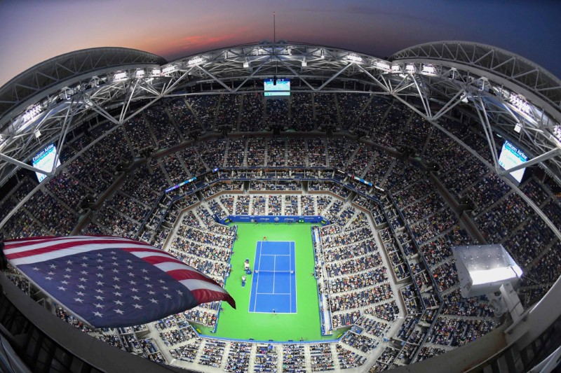 Aug 28, 2018; New York, NY, USA; Roger Federer of Switzerland hits to Yoshihito Nishioka of Japan in a first round match on day two of the 2018 U.S. Open tennis tournament at USTA Billie Jean King National Tennis Center. Mandatory Credit: Robert Deutsch-USA TODAY Sports      TPX IMAGES OF THE DAY