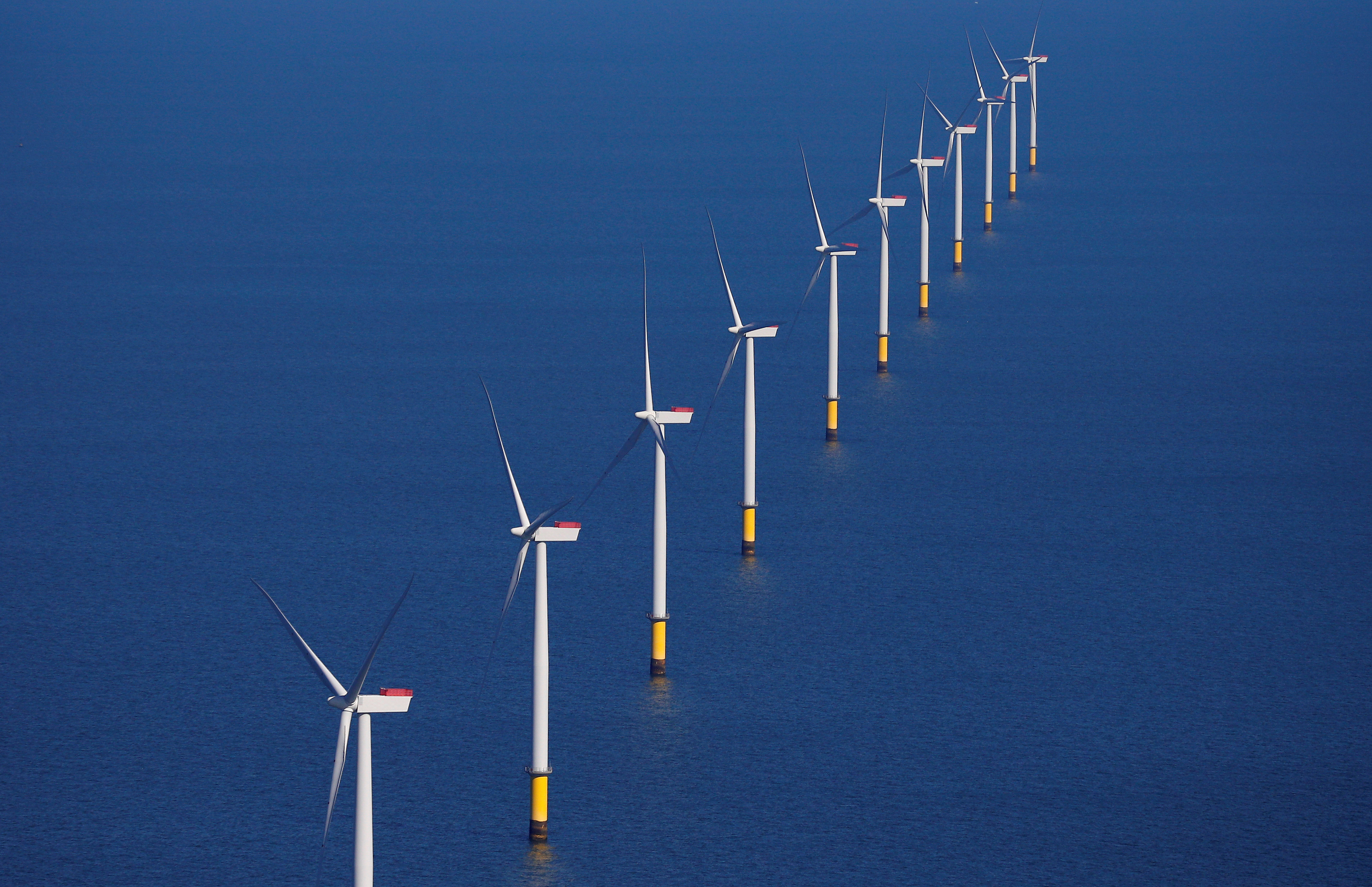 FILE PHOTO: General view of the Walney Extension offshore wind farm operated by Orsted off the coast of Blackpool, Britain September 5, 2018. REUTERS/Phil Noble/File Photo/File Photo