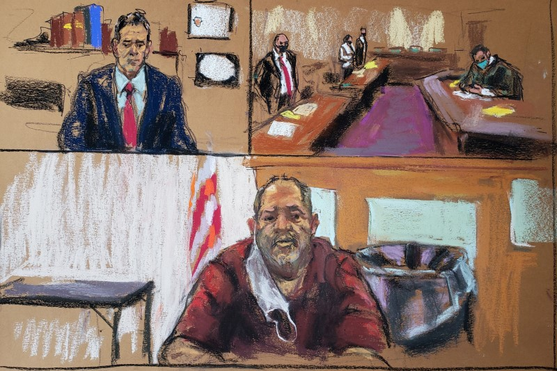 Former movie producer Harvey Weinstein (bottom) attends a remote court hearing before Erie County Court Judge Kenneth Case (top right) and his defense lawyers Mark Werksman and Norman Effman, from the Wende Correctional Facility, east of Buffalo, New York, U.S. June 15, 2021 in a court sketch. REUTERS/Jane Rosenberg