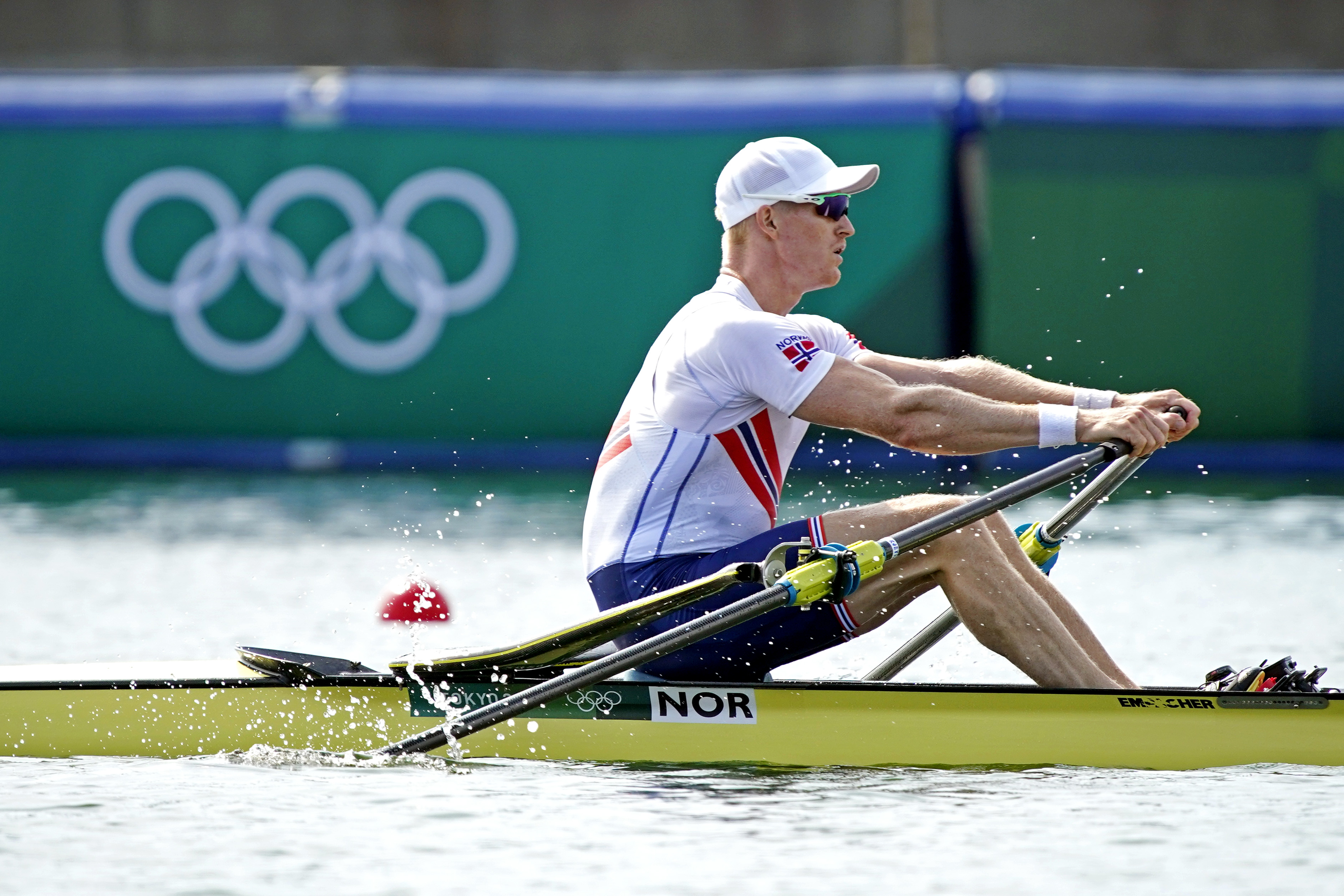 Jul 23, 2021; Tokyo, Japan; Kjetil Borch in the Mens Single Sculls Heats during the Tokyo 2020 Olympic Summer Games at Sea Forest Waterway. Mandatory Credit: Andrew Nelles-USA TODAY Network