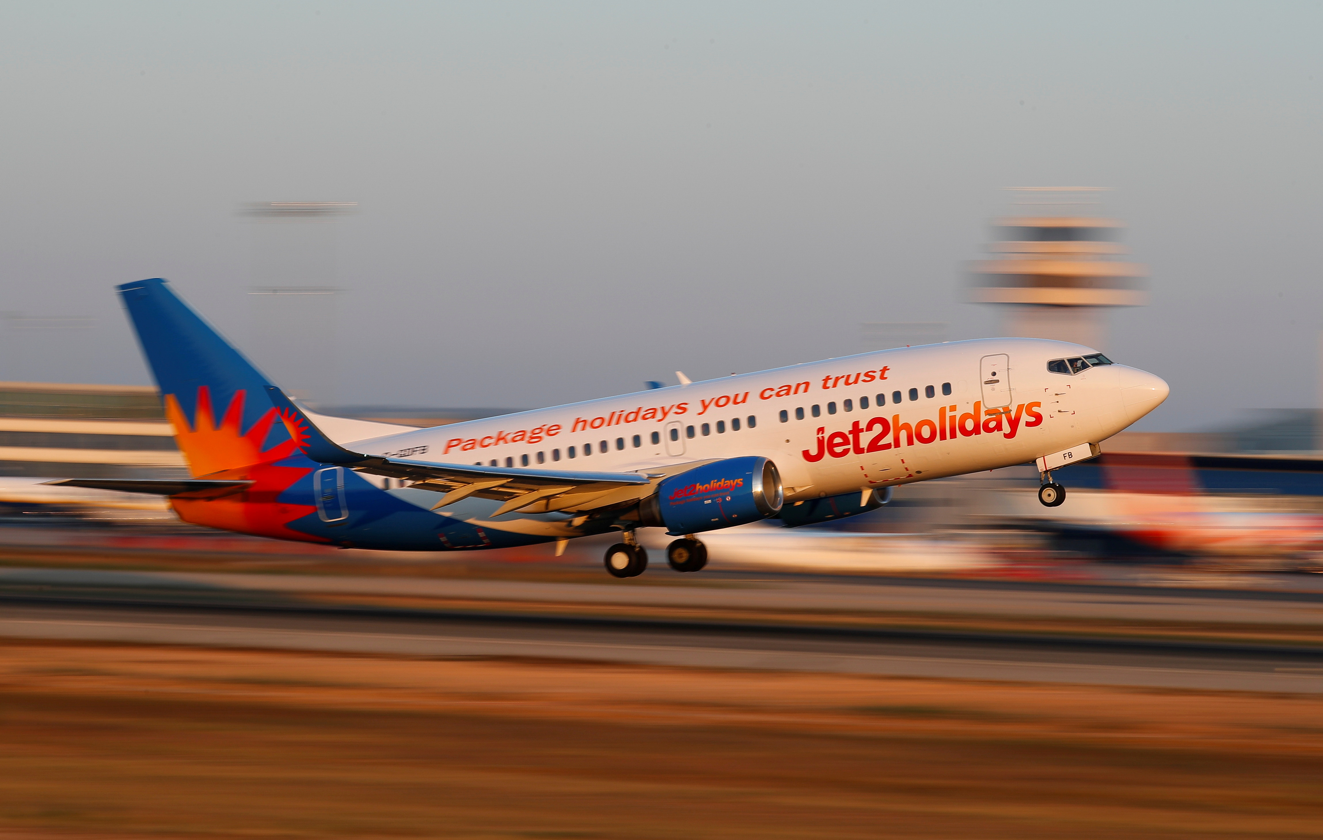 A Jet2 airplane takes off from the airport in Palma de Mallorca, Spain, July 29, 2018. Picture taken July 29, 2018.  REUTERS/Paul Hanna/File Photo