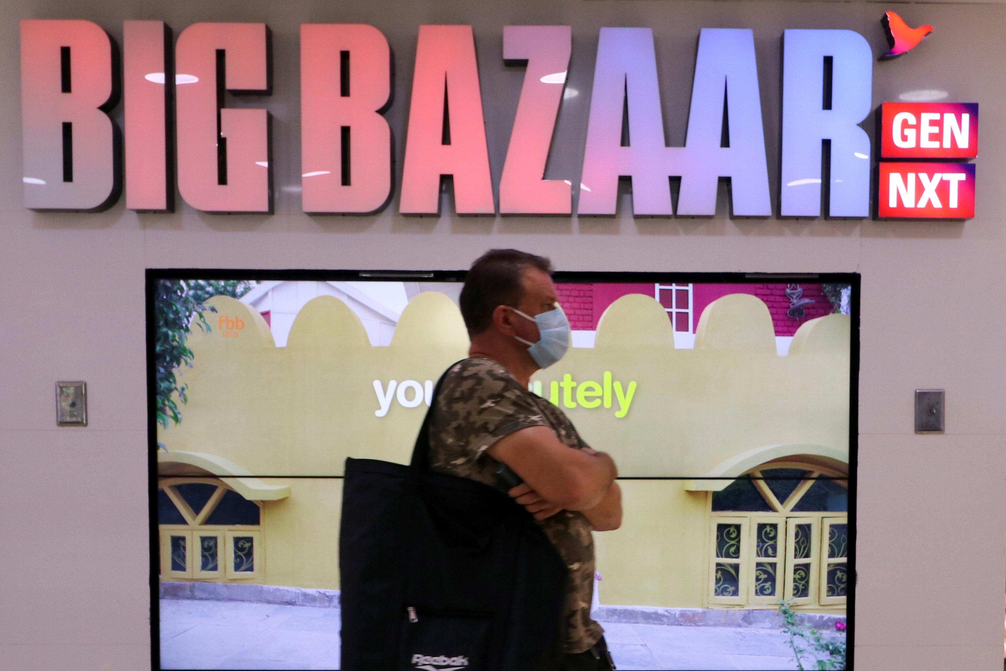 A man walks inside the Big Bazaar retail store in Mumbai, India, November 25, 2020. REUTERS/Niharika Kulkarni/File Photo