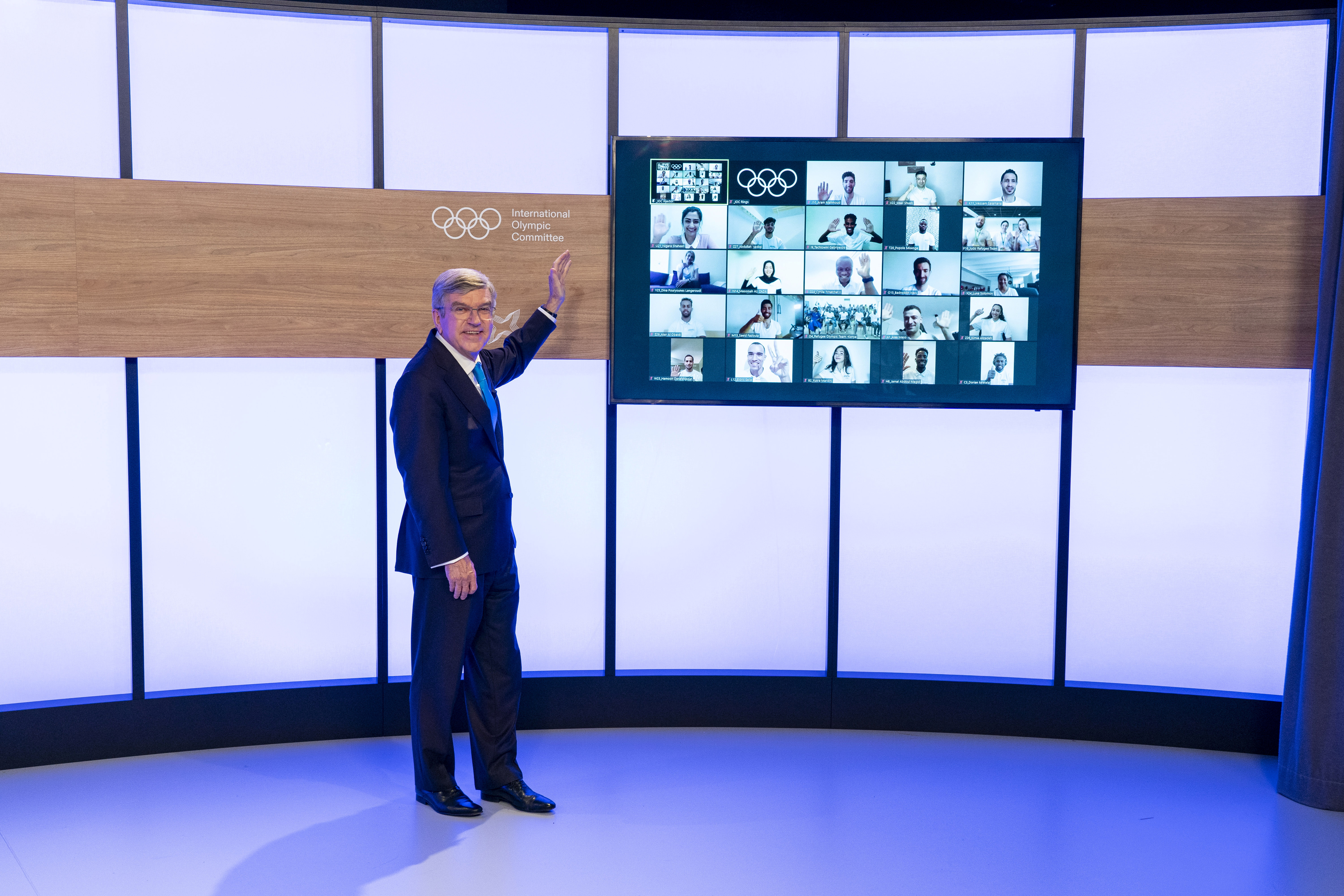 International Olympic Committee President Thomas Bach announces the  IOC Refugee Team members for Tokyo 2020 in Lausanne, Switzerland, June 8, 2021. Greg Martin/IOC/Handout via REUTERS THIS IMAGE HAS BEEN SUPPLIED BY A THIRD PARTY. NO RESALES. NO ARCHIVES