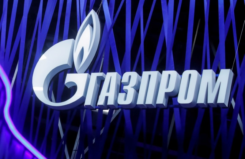 The logo of Russian gas giant Gazprom is seen on a board at the St. Petersburg International Economic Forum (SPIEF), Russia, June 6, 2019. REUTERS/MaximShemetov/File Photo