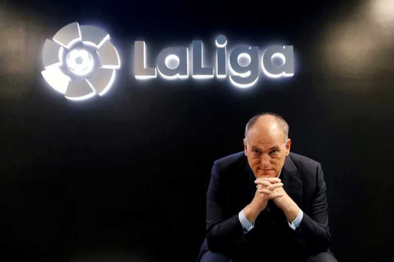 La Liga President Javier Tebas poses before an online interview with Reuters at the La Liga headquarters in Madrid, Spain January 27, 2021. REUTERS/Susana Vera/File Photo/File Photo