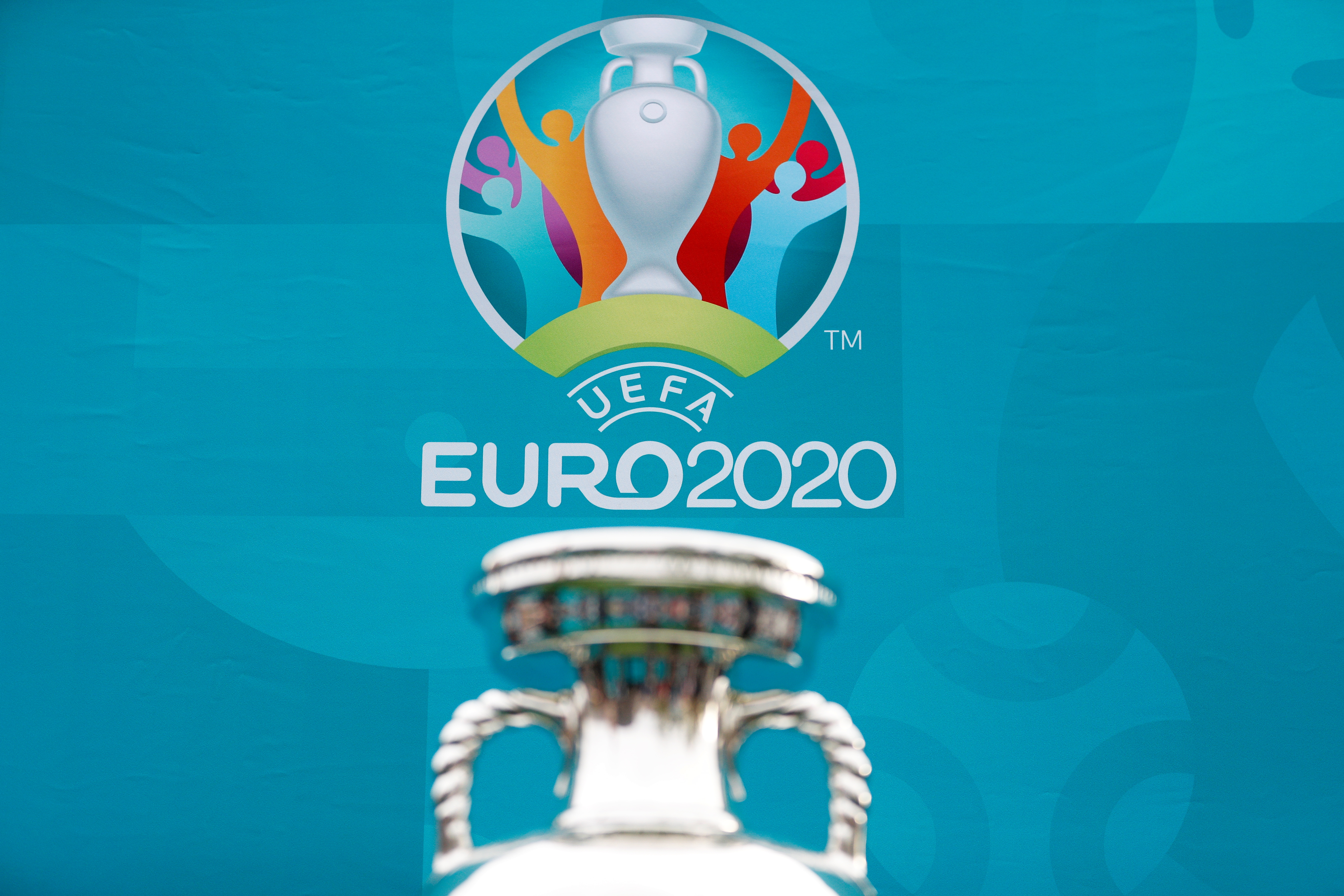 View of the tournament logo as the UEFA European Championship 2020 trophy is displayed outside King's Cross railway station in London, Britain, June 4, 2021. REUTERS/Peter Nicholls/File photo
