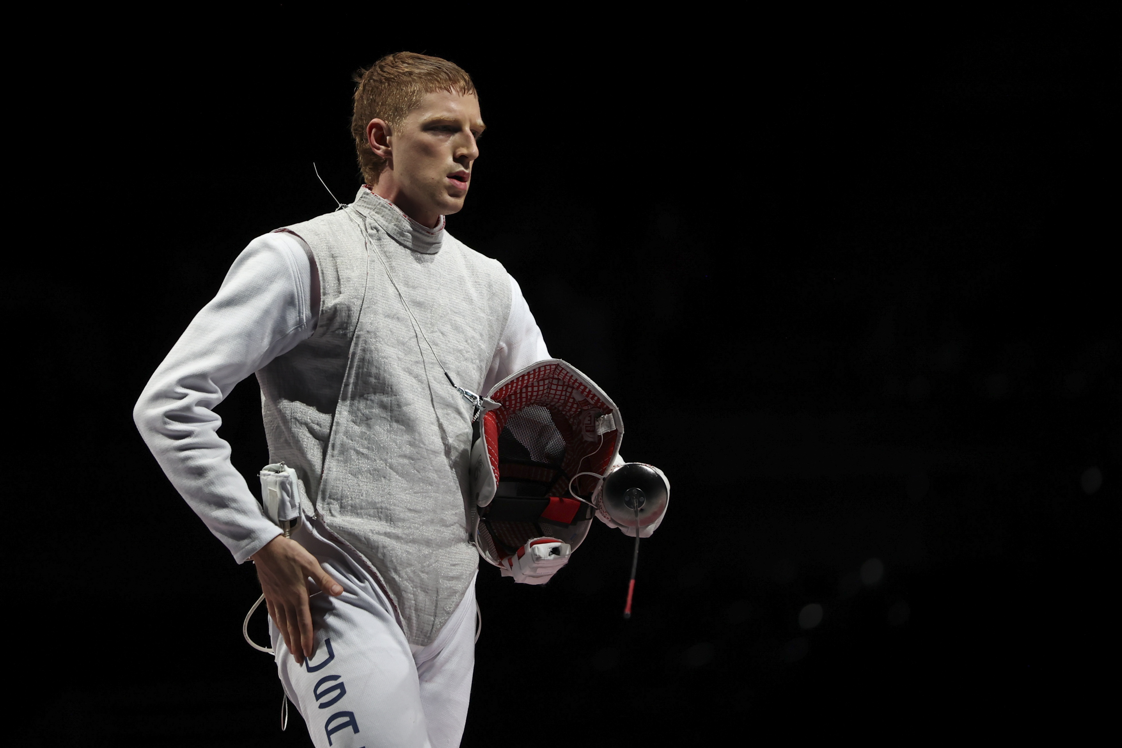 Tokyo 2020 Olympics - Fencing - Men's Team Foil - Bronze medal match - Makuhari Messe Hall B - Chiba, Japan - August 1, 2021. Race Imboden of the United States reacts REUTERS/Molly Darlington