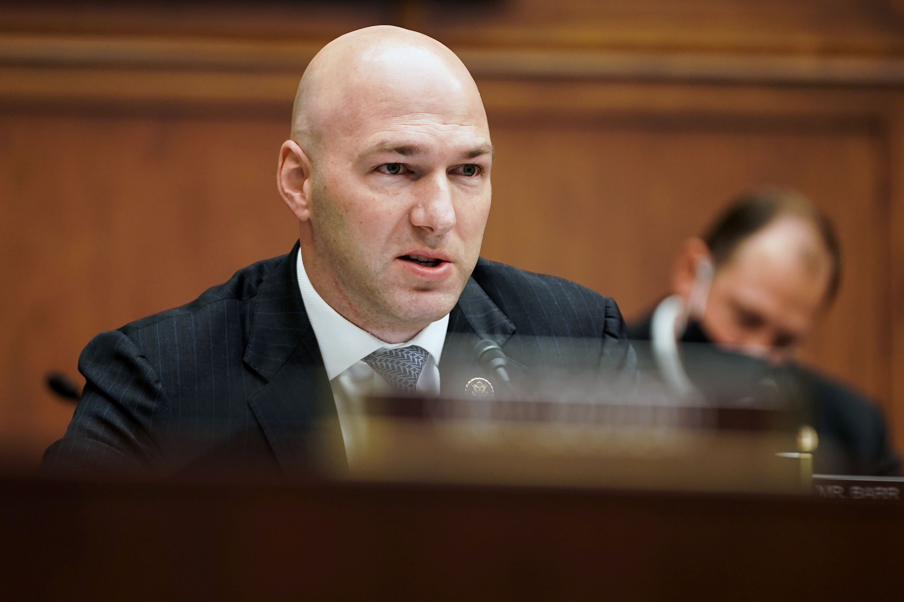 Rep. Anthony Gonzalez (R-OH) attends a House Financial Services Committee hearing on