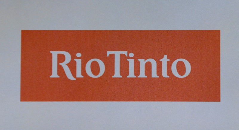 The Rio Tinto mining company's logo is photographed at their annual general meeting in Sydney, Australia, May 4, 2017. REUTERS/Jason Reed