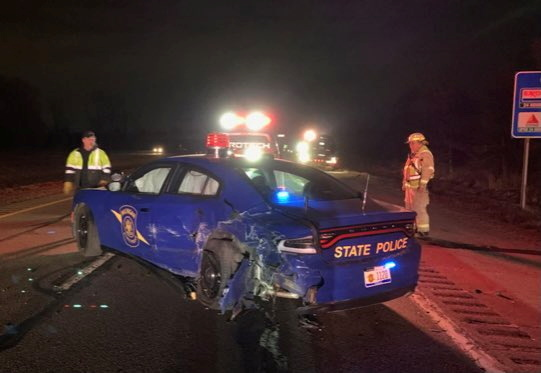 A crashed state police car is seen in Eaton County, Michigan, U.S., March 17, 2021, in this picture obtained from social media. Picture taken March 17,2021. MSP FIRST DISTRICT/via REUTERS