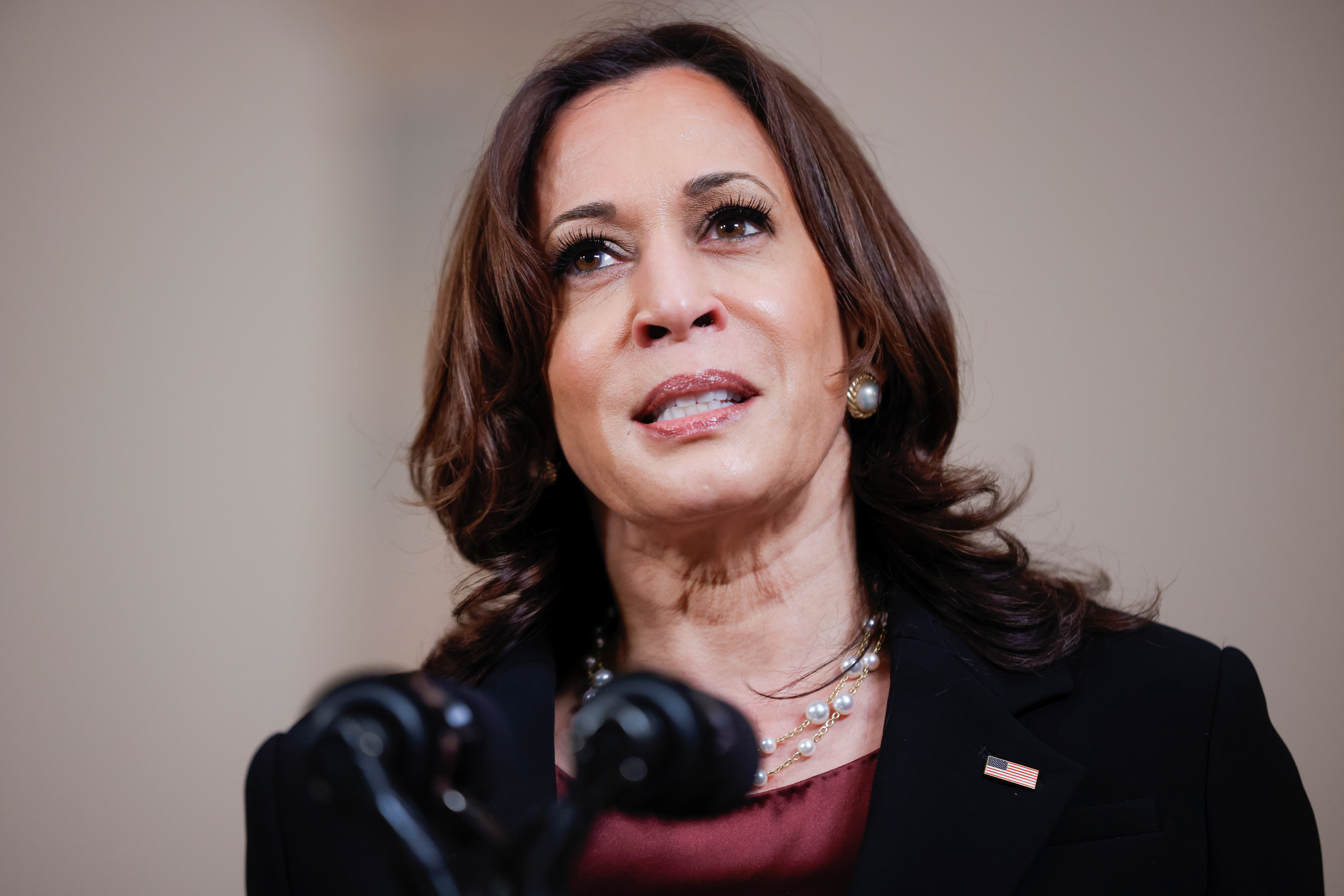 U.S. Vice President Kamala Harris speaks after a jury reached guilty verdicts in the murder trial of former Minneapolis police officer Derek Chauvin stemming from George Floyd's deadly arrest, in the Cross Hall at the White House in Washington, U.S., April 20, 2021. REUTERS/Tom Brenner