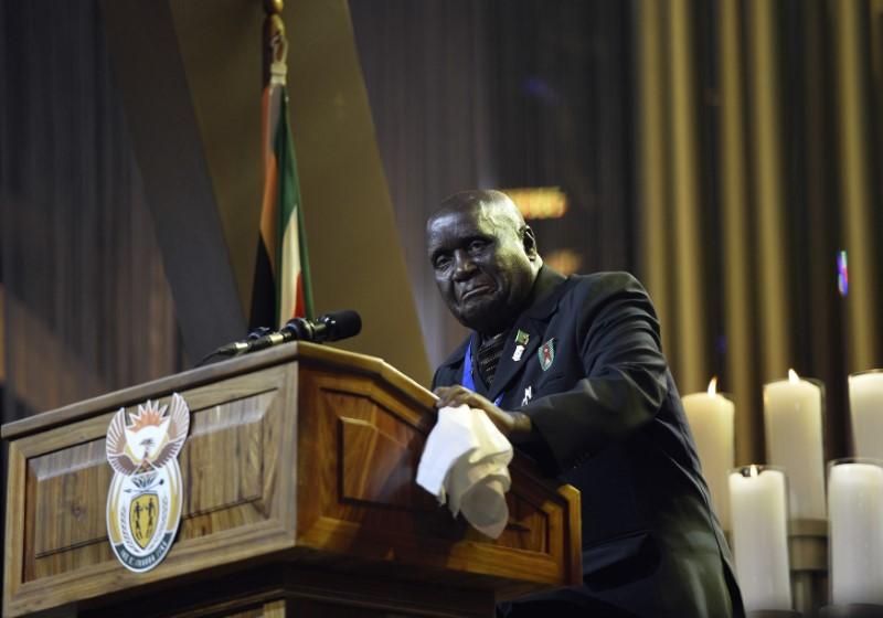 Former President of Zambia Kenneth Kaunda speaks during the funeral ceremony for former South African President Nelson Mandela in Qunu December 15, 2013. REUTERS/Odd Andersen/Pool