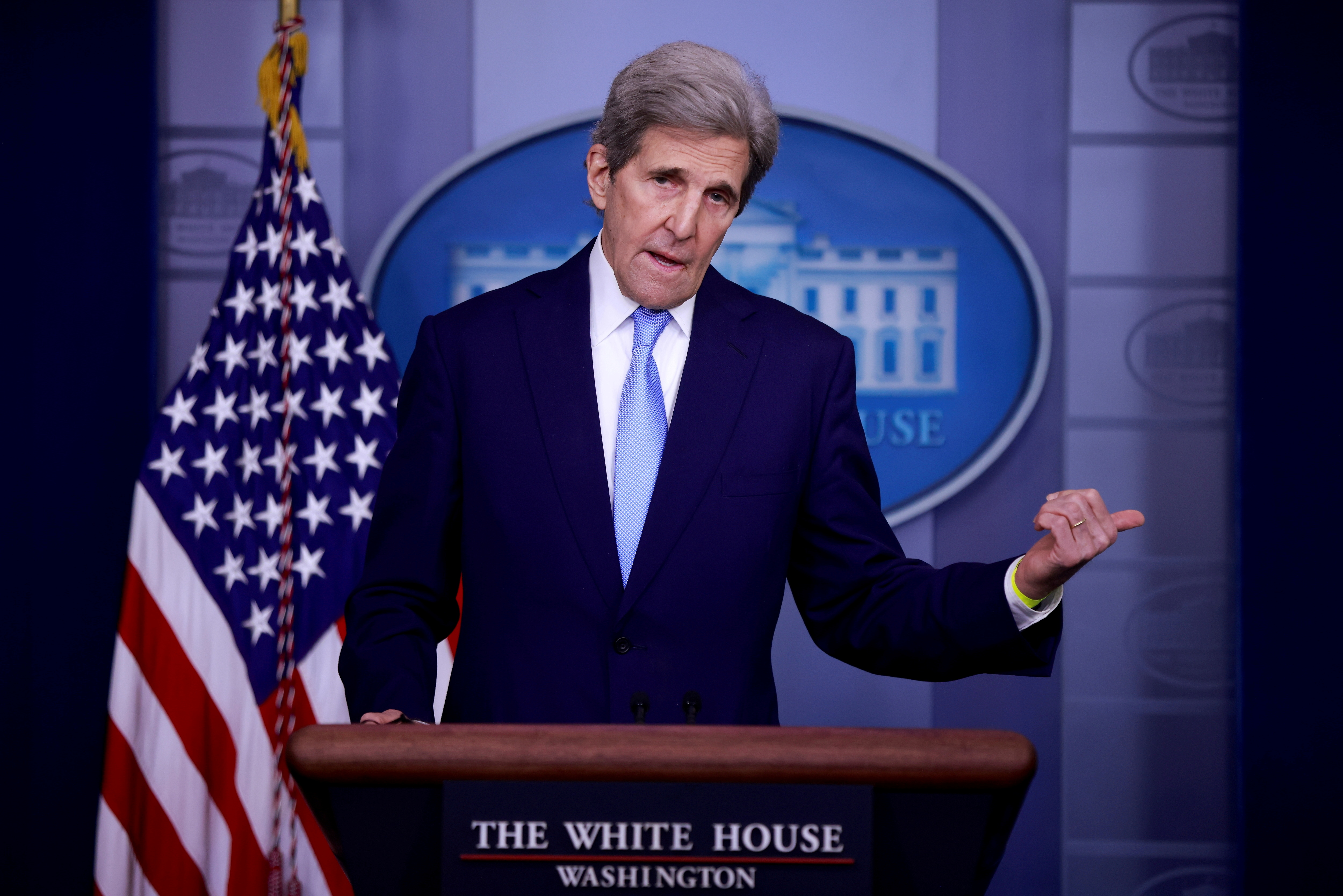 John Kerry, Special Presidential Envoy for Climate, delivers remarks during a press briefing at the White House in Washington, U.S., April 22, 2021. REUTERS/Tom Brenner