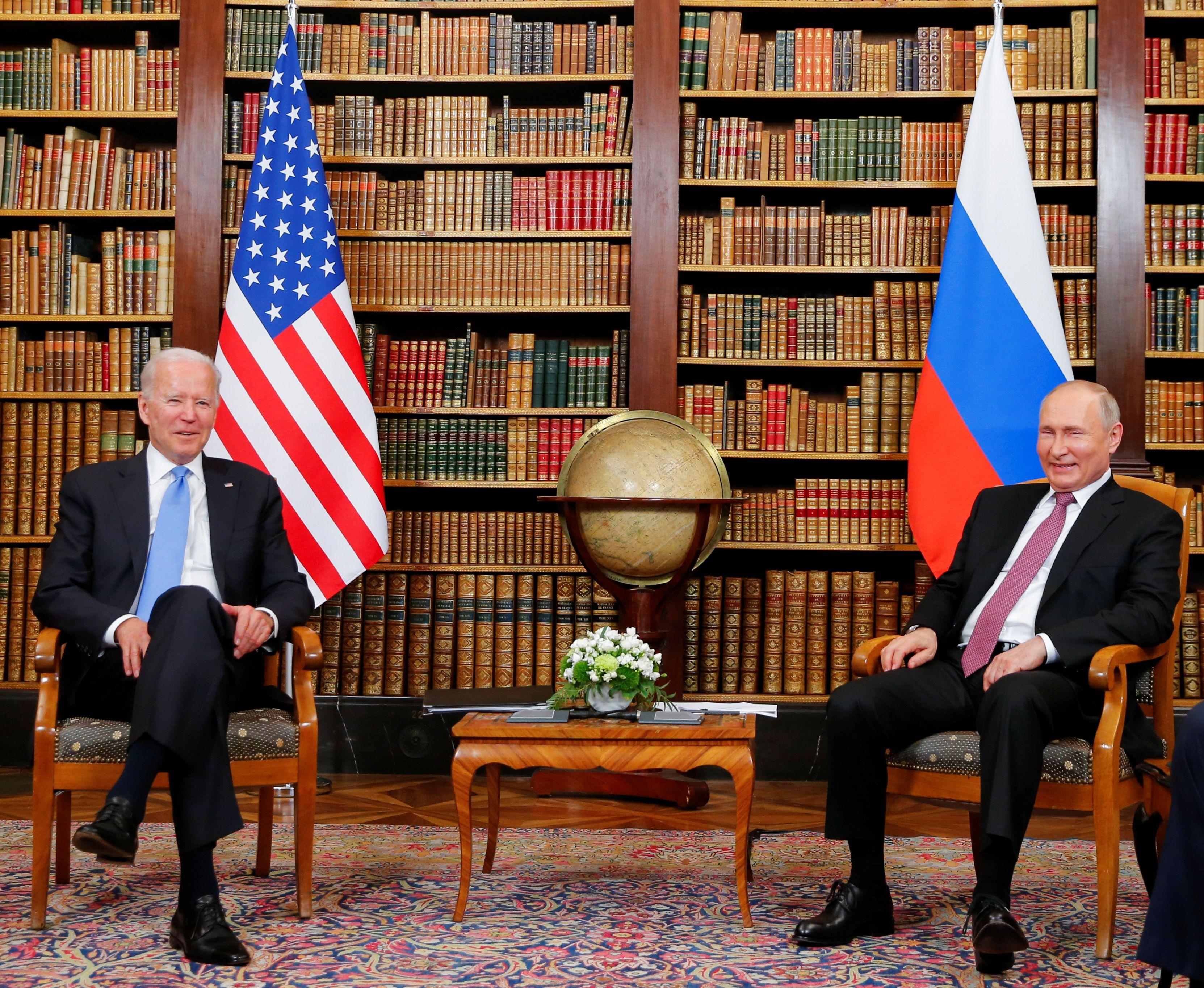 U.S. President Joe Biden and Russia's President Vladimir Putin meet for the U.S.-Russia summit at Villa La Grange in Geneva, Switzerland, June 16, 2021. REUTERS/Denis Balibouse/Pool