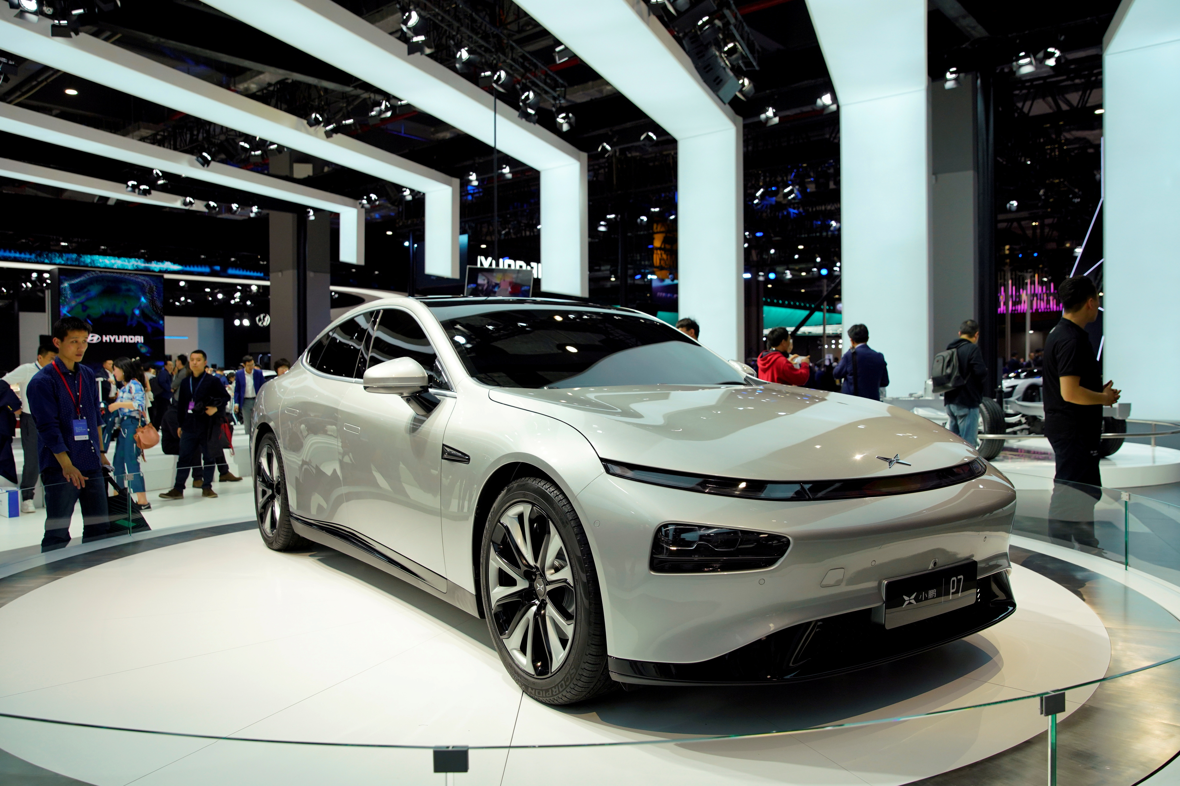 XPeng's electric vehicle (EV) P7 is unveiled during the media day for Shanghai auto show in Shanghai, China April 16, 2019.