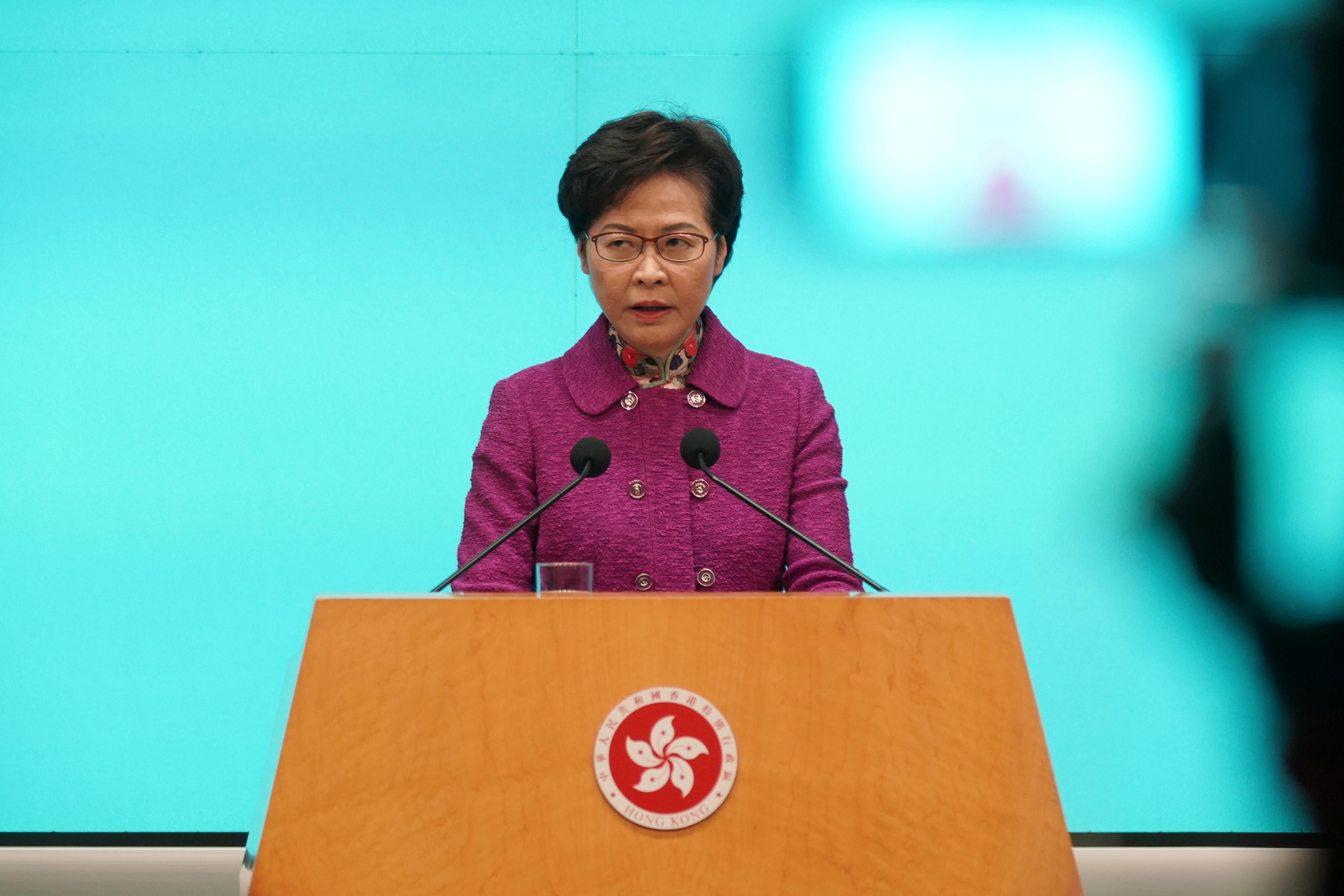 Hong Kong Chief Executive Carrie Lam attends a news conference following the annual policy address in Hong Kong, China November 25, 2020. REUTERS/Lam Yik/File Photo