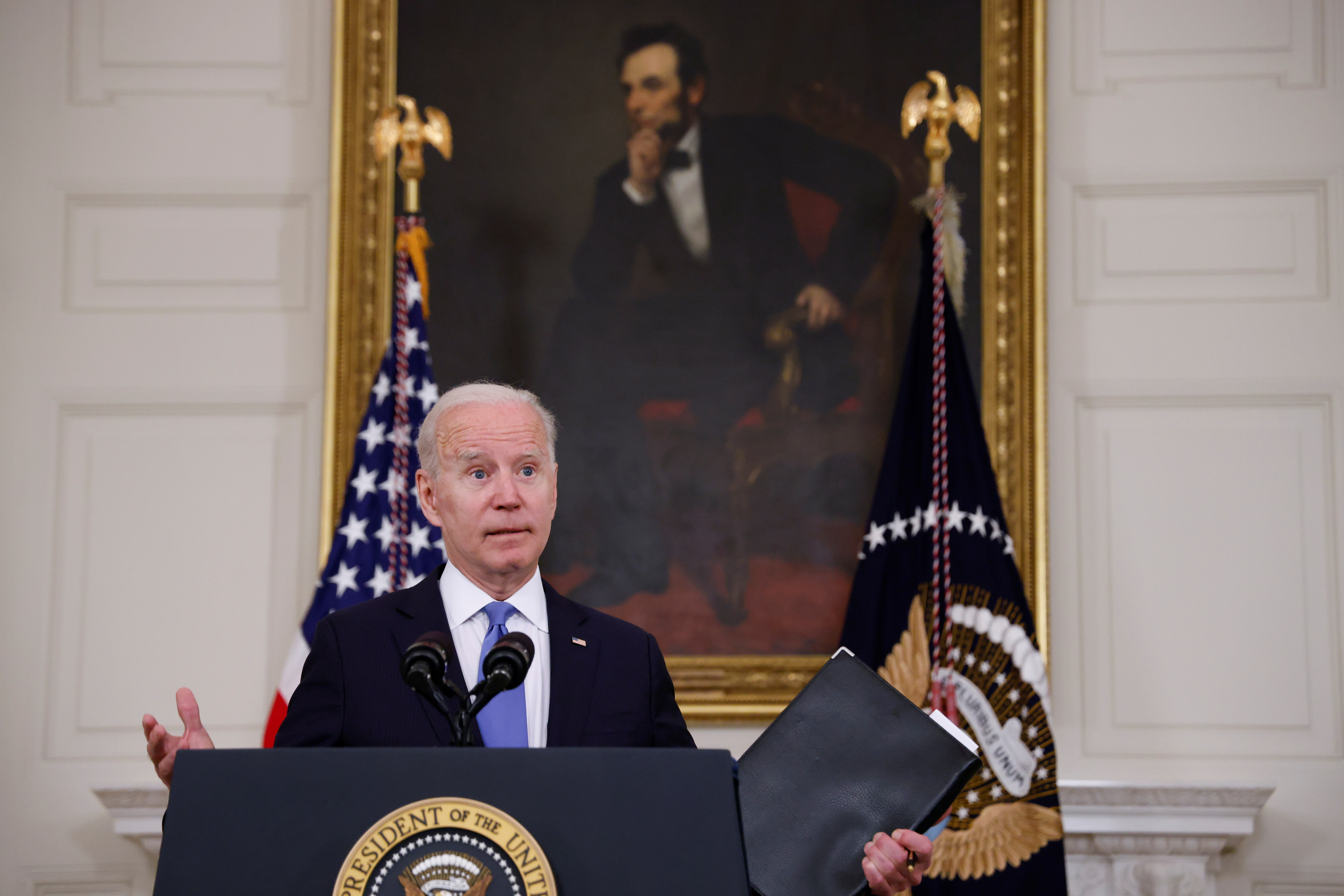 U.S. President Joe Biden delivers remarks on the state of his American Rescue Plan from the State Dining Room at the White House in Washington, D.C., U.S., May 5, 2021. REUTERS/Jonathan Ernst