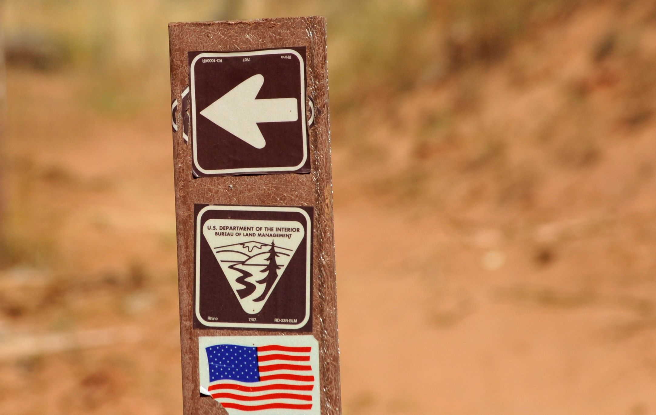 U.S. Department of the Interior Bureau of Land Management trail marker is shown along the Arch Canyon trail in Bears Ears National Monument, New Mexico, U.S., October 27, 2017. REUTERS/Andrew Cullen/File Photo