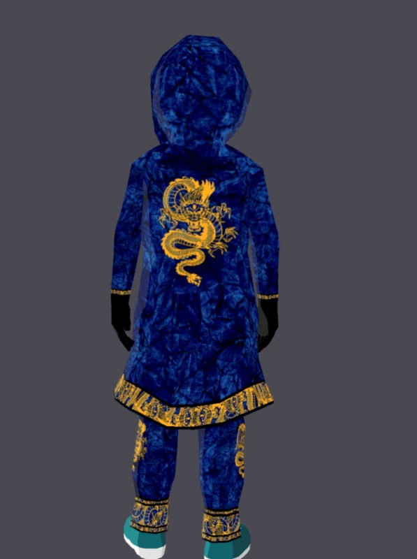 """An undated handout image of virtual clothing piece """"The Blue Dragon Warrior"""" kimono, a wearable item in the digital world of """"Decentraland"""", which according to its creator Hiroto Kai it's his """"first mythic wearable creation, one out of ten ever created"""".  Hiroto Kai/Handout via REUTERS THIS IMAGE HAS BEEN SUPPLIED BY A THIRD PARTY. NO RESALES. NO ARCHIVES. MANDATORY CREDIT"""