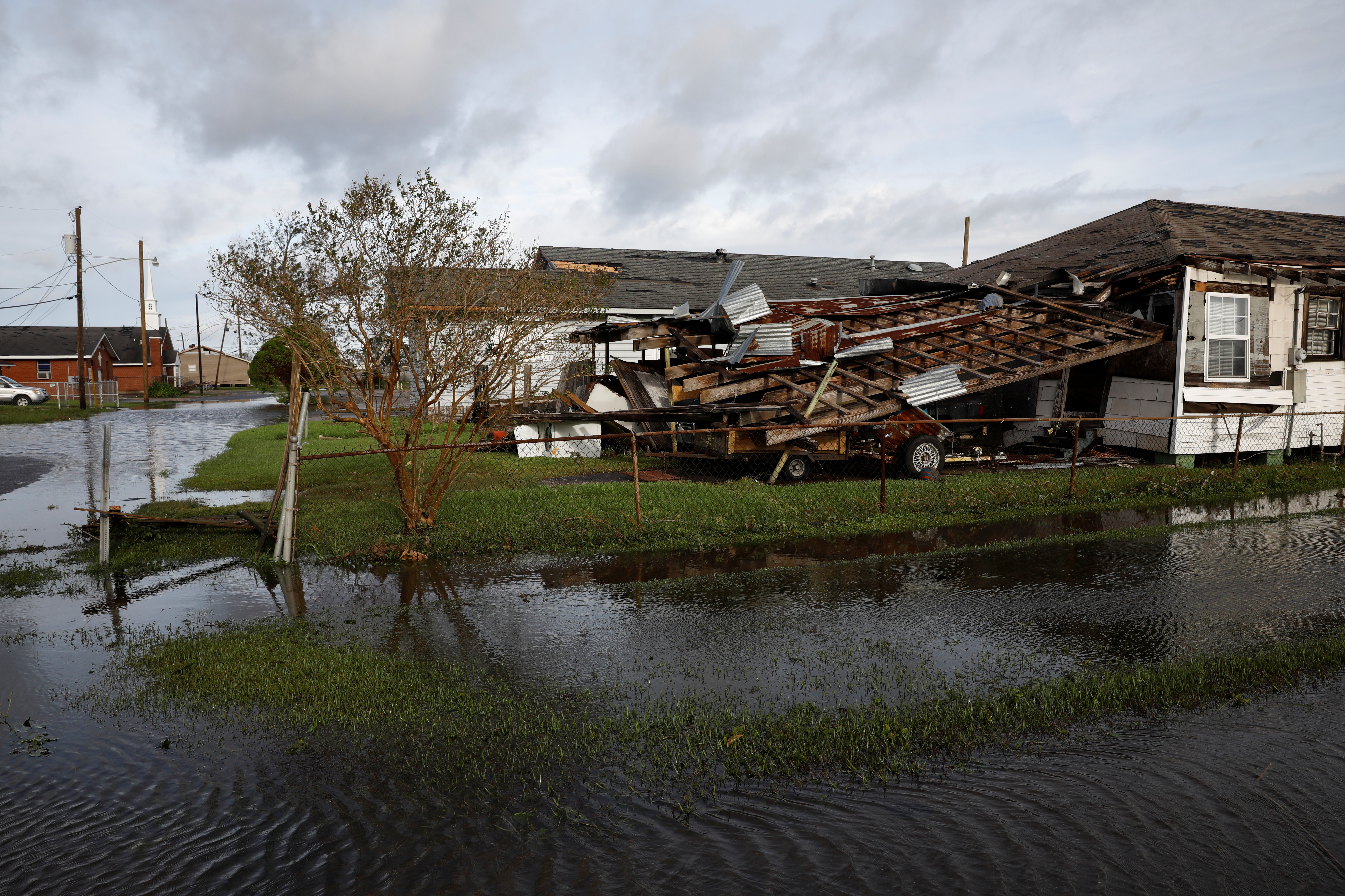 A damaged building is pictured after Hurricane Ida made landfall in Louisiana, in Kenner, Louisiana, U.S. August 30, 2021. REUTERS/Marco Bello