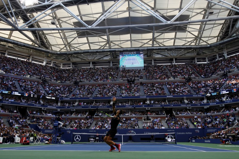US Open - Mens Final - New York, U.S. - September 10, 2017 - Rafael Nadal of Spain in action against Kevin Anderson of South Africa. REUTERS/Shannon Stapleton