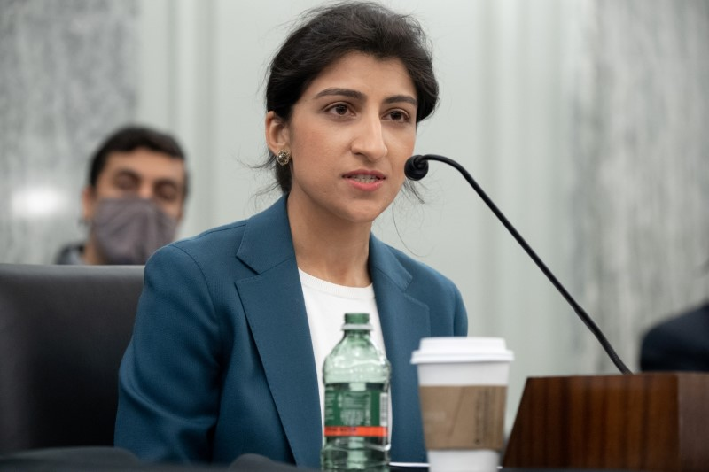 Lina Khan, nominee for Commissioner of the Federal Trade Commission (FTC), speaks during a Senate Committee on Commerce, Science, and Transportation confirmation hearing on Capitol Hill in Washington, DC, U.S. April 21, 2021.  Saul Loeb/Pool via REUTERS/Files