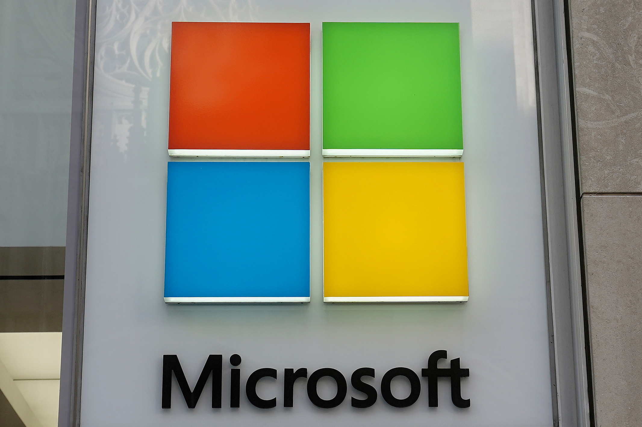 A Microsoft logo on a store in the Manhattan borough of New York City, New York, January  25, 2021. REUTERS/Carlo Allegri