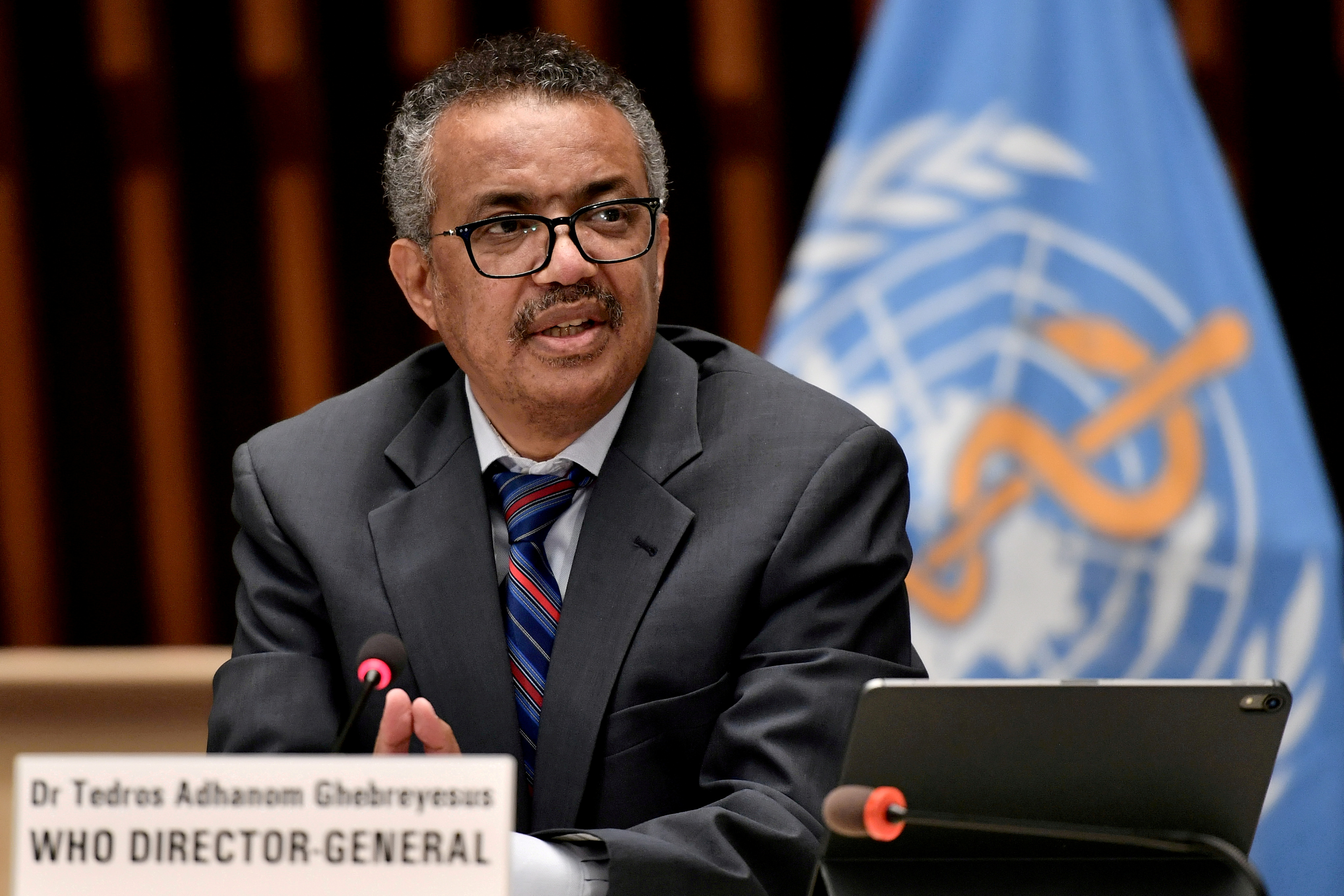 World Health Organization (WHO) Director-General Tedros Adhanom Ghebreyesus attends a news conference in Geneva Switzerland July 3, 2020. Fabrice Coffrini/Pool via REUTERS