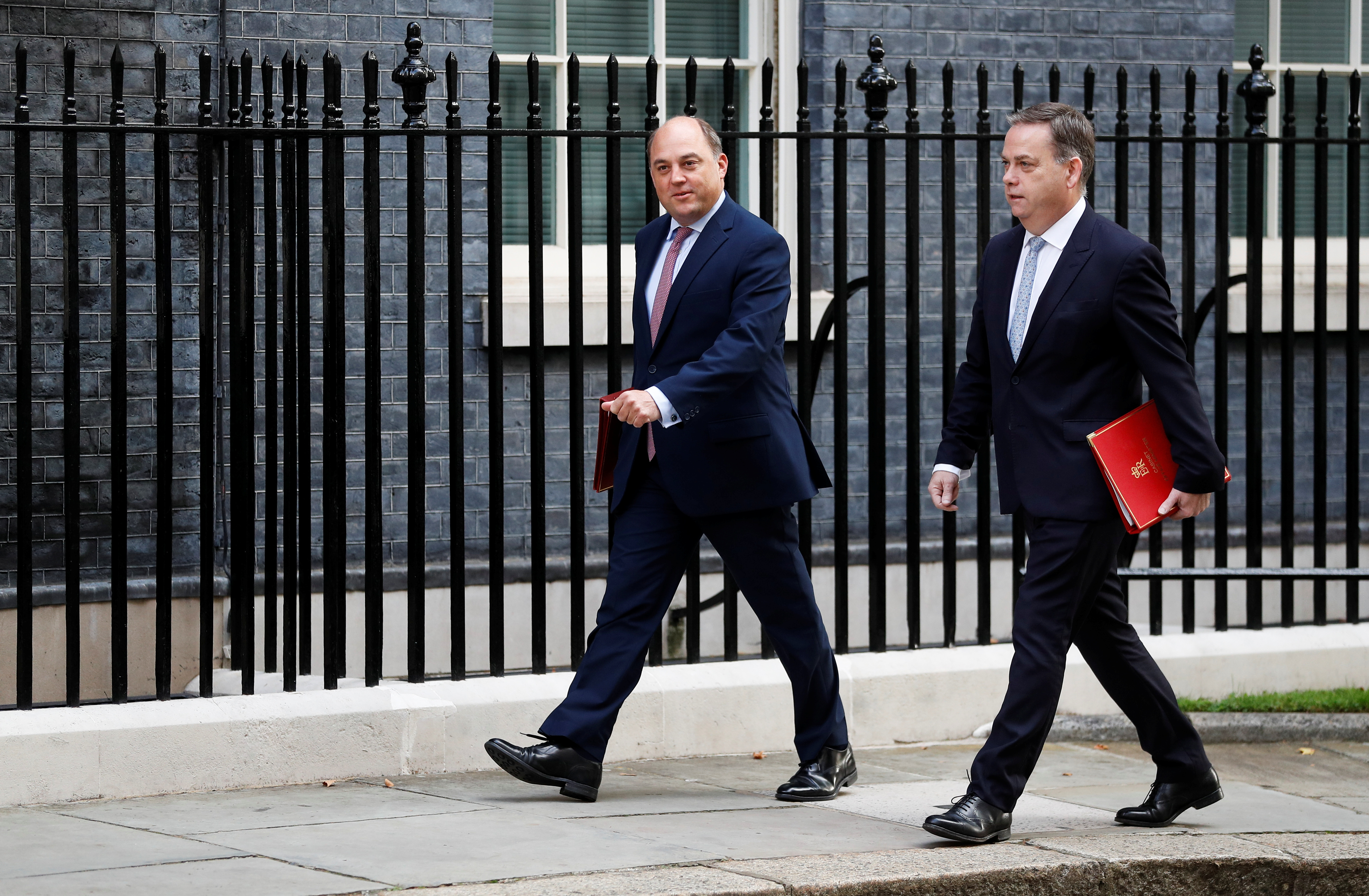 Britain's Minister of State Nigel Adams and Britain's Defence Secretary Ben Wallace arrive on Downing Street, in London, Britain September 17, 2021. REUTERS/Peter Nicholls