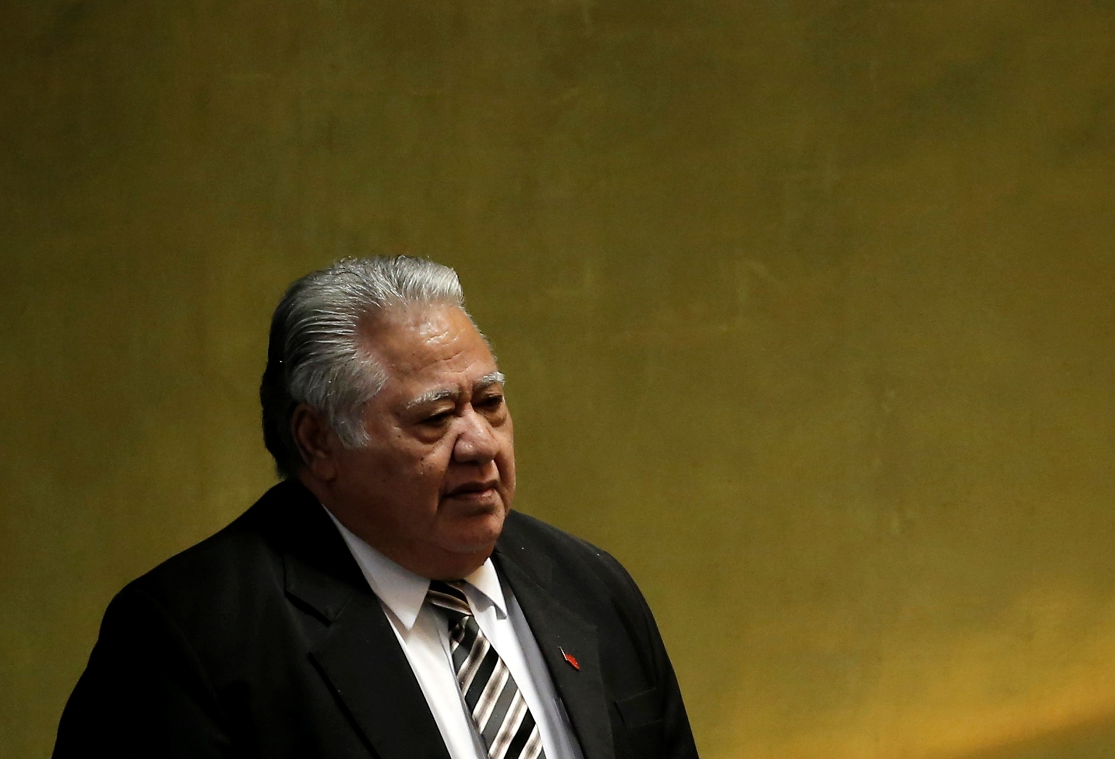 Prime Minister Tuilaepa Sailele Malielegaoi of Samoa arrives to address the 71st United Nations General Assembly in the Manhattan borough of New York, U.S., September 23, 2016.  REUTERS/Mike Segar/File Photo
