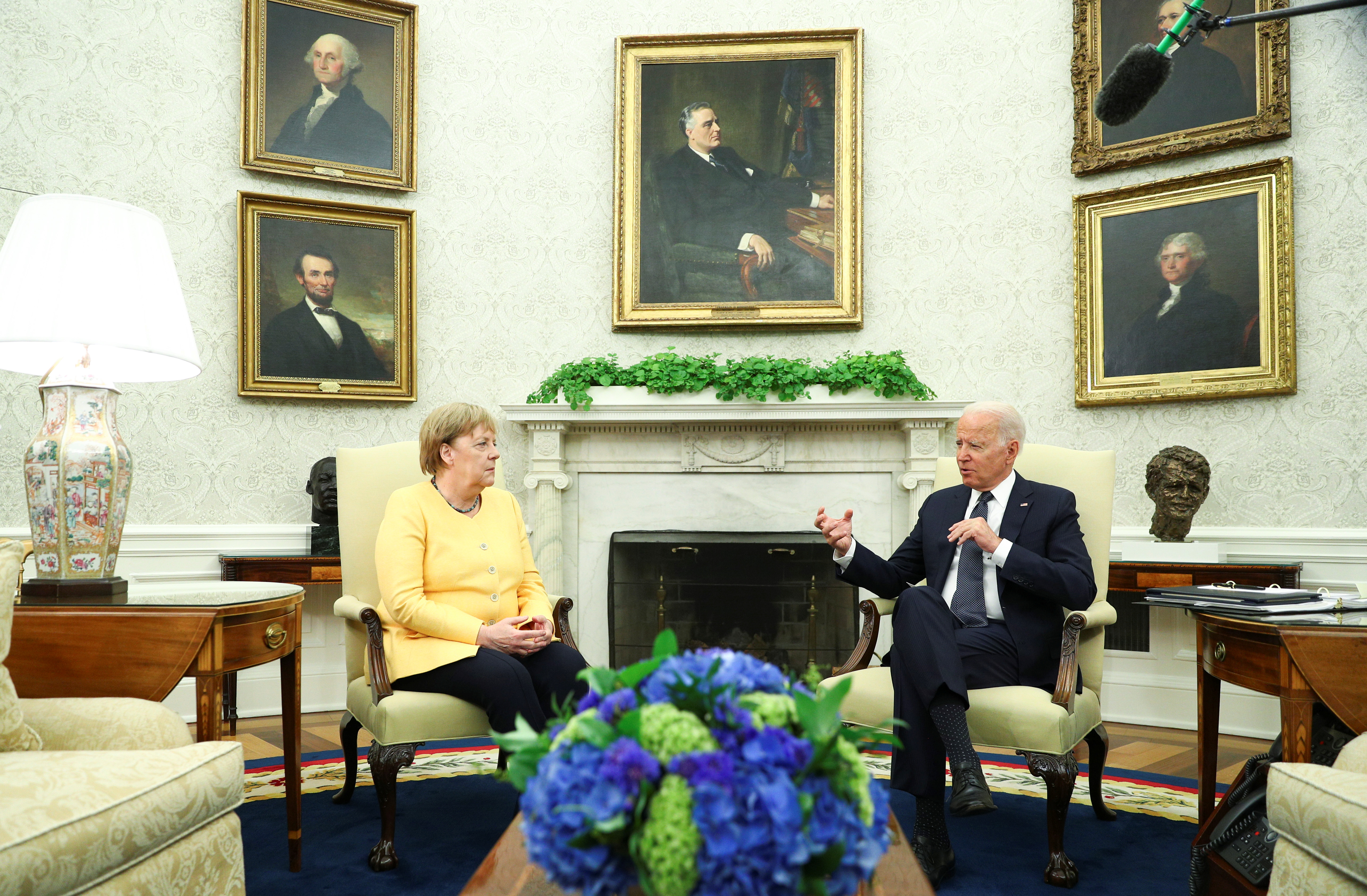 U.S. President Joe Biden holds a bilateral meeting with German Chancellor Angela Merkel in the Oval Office at the White House in Washington, U.S., July 15, 2021. REUTERS/Tom Brenner m Brenner