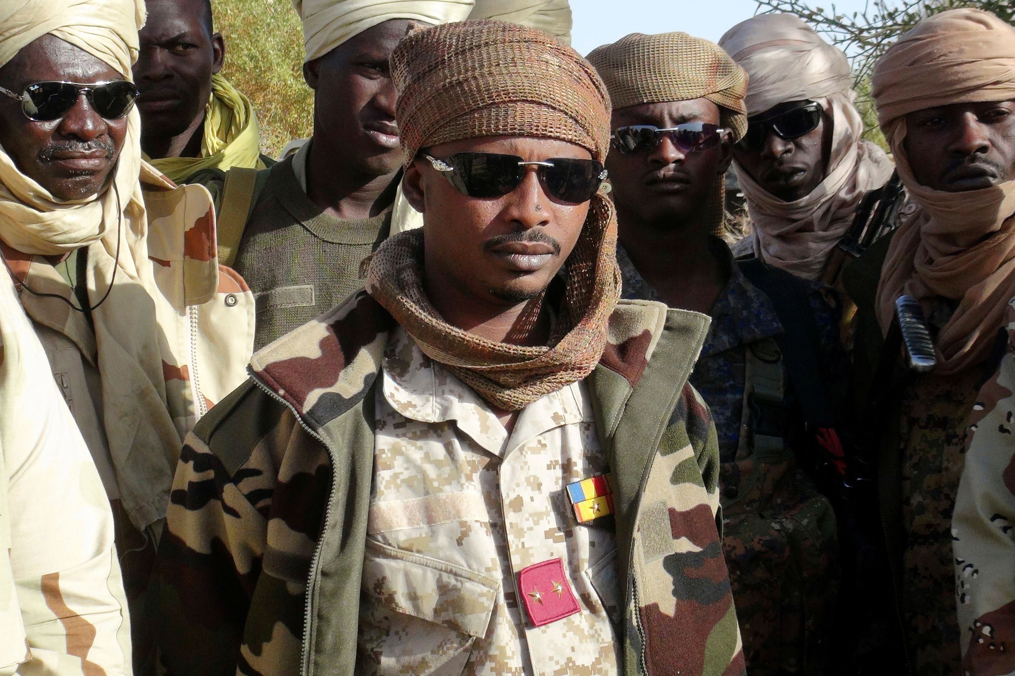 The son of Chad's late president Idriss Deby, Mahamat Idriss Deby Itno (also known as Mahamat Kaka) and Chadian army officers gather in the northeastern town of Kidal, Mali, February 7, 2013. REUTERS/Cheick Diouara/File Photo