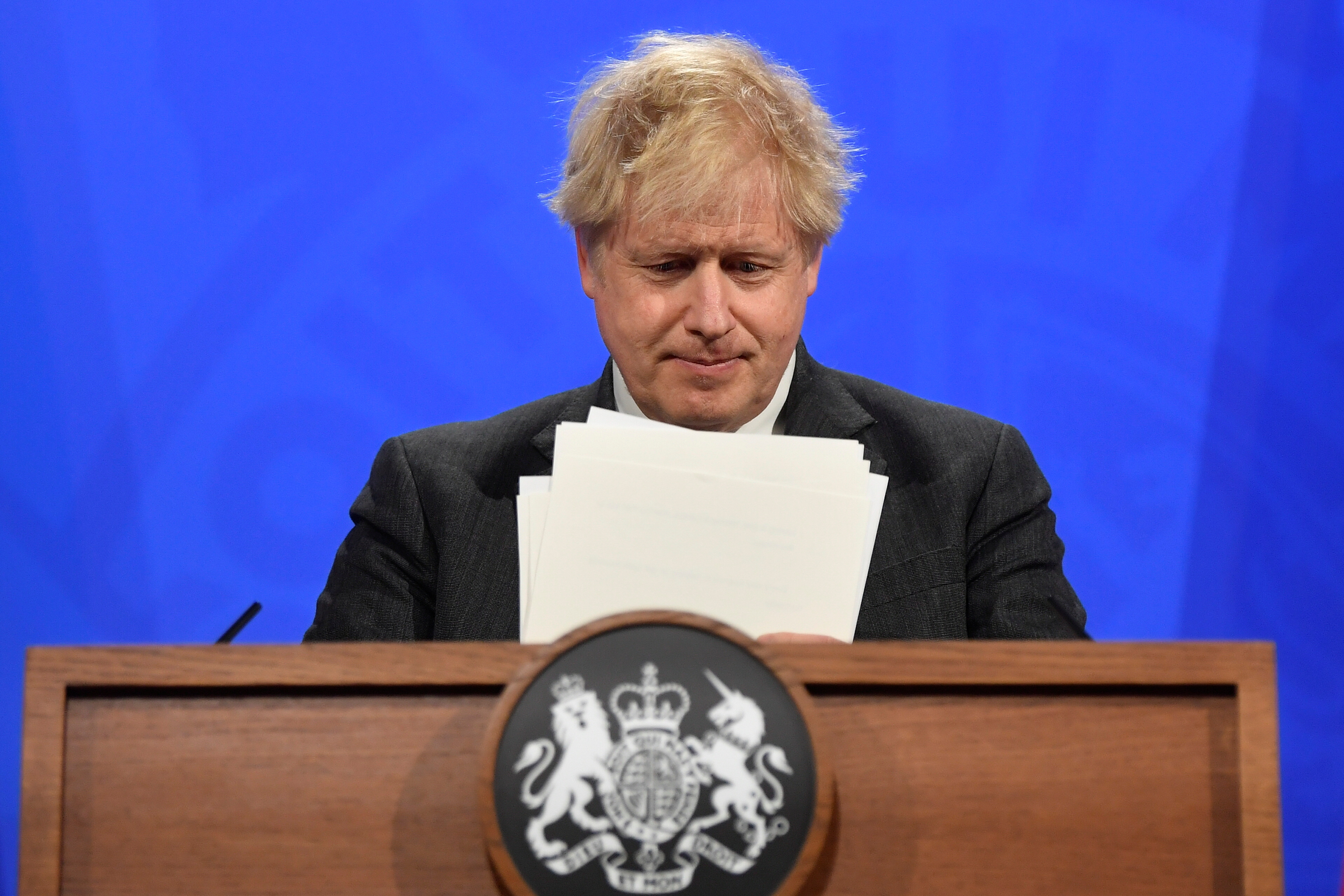 Britain's Prime Minister Boris Johnson holds a news conference at 10 Downing Street,  amid the coronavirus disease (COVID-19) outbreak, in London, Britain, April 20, 2021. REUTERS/Toby Melville/Pool