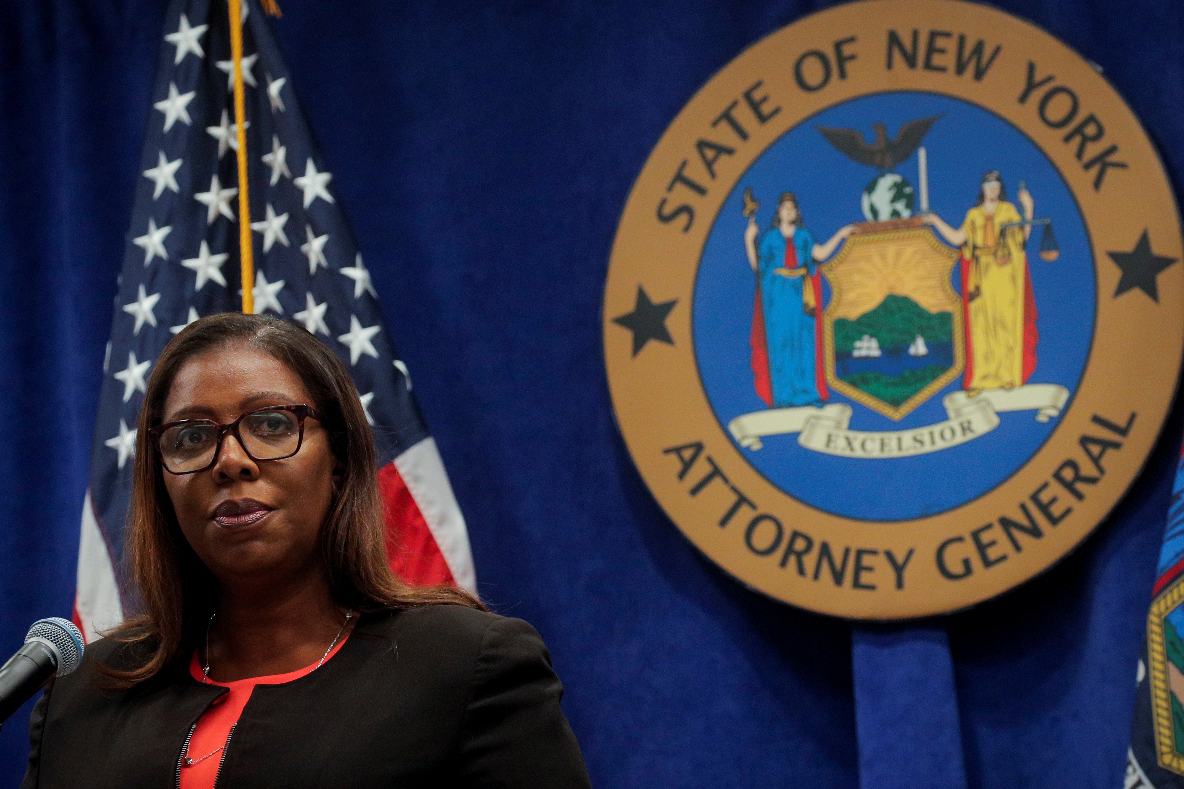 New York State Attorney General, Letitia James, speaks during a news conference, to announce a suit to dissolve the National Rifle Association, In New York, August 6, 2020. REUTERS/Brendan McDermid