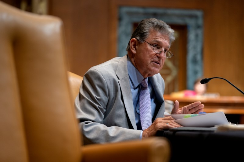 Senator Joe Manchin (D-WV) speaks during a Senate Appropriations Subcommittee on Commerce, Justice, Science, and Related Agencies hearing at the Dirksen Senate Office building in Washington, D.C., U.S., June 9, 2021. Stefani Reynolds/Pool via REUTERS
