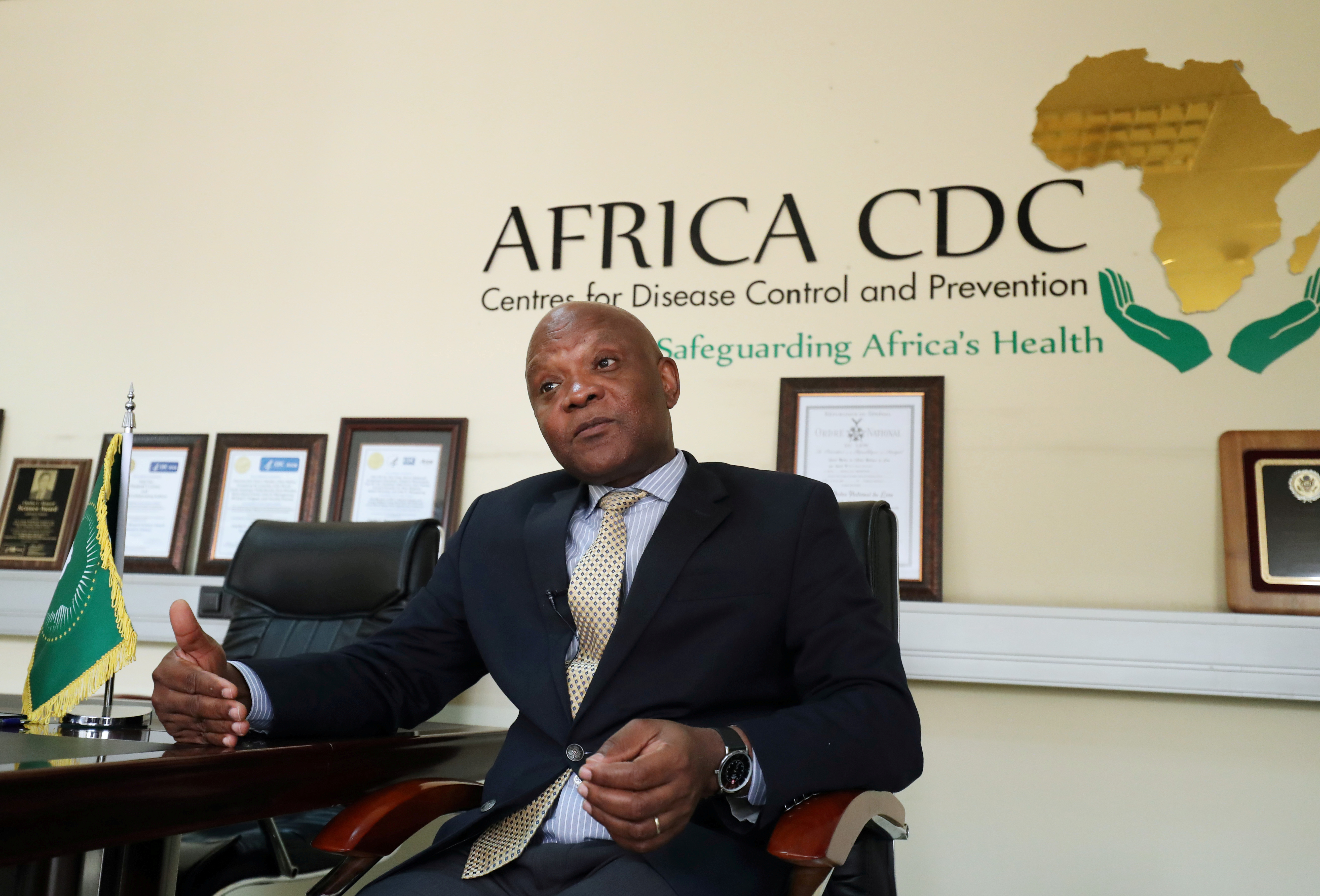 John Nkengasong, Africa's Director of the Centers for Disease Control (CDC), speaks during an interview with Reuters at the African Union (AU) Headquarters in Addis Ababa, Ethiopia March 11, 2020. Picture taken March 11, 2020. REUTERS/Tiksa Negeri