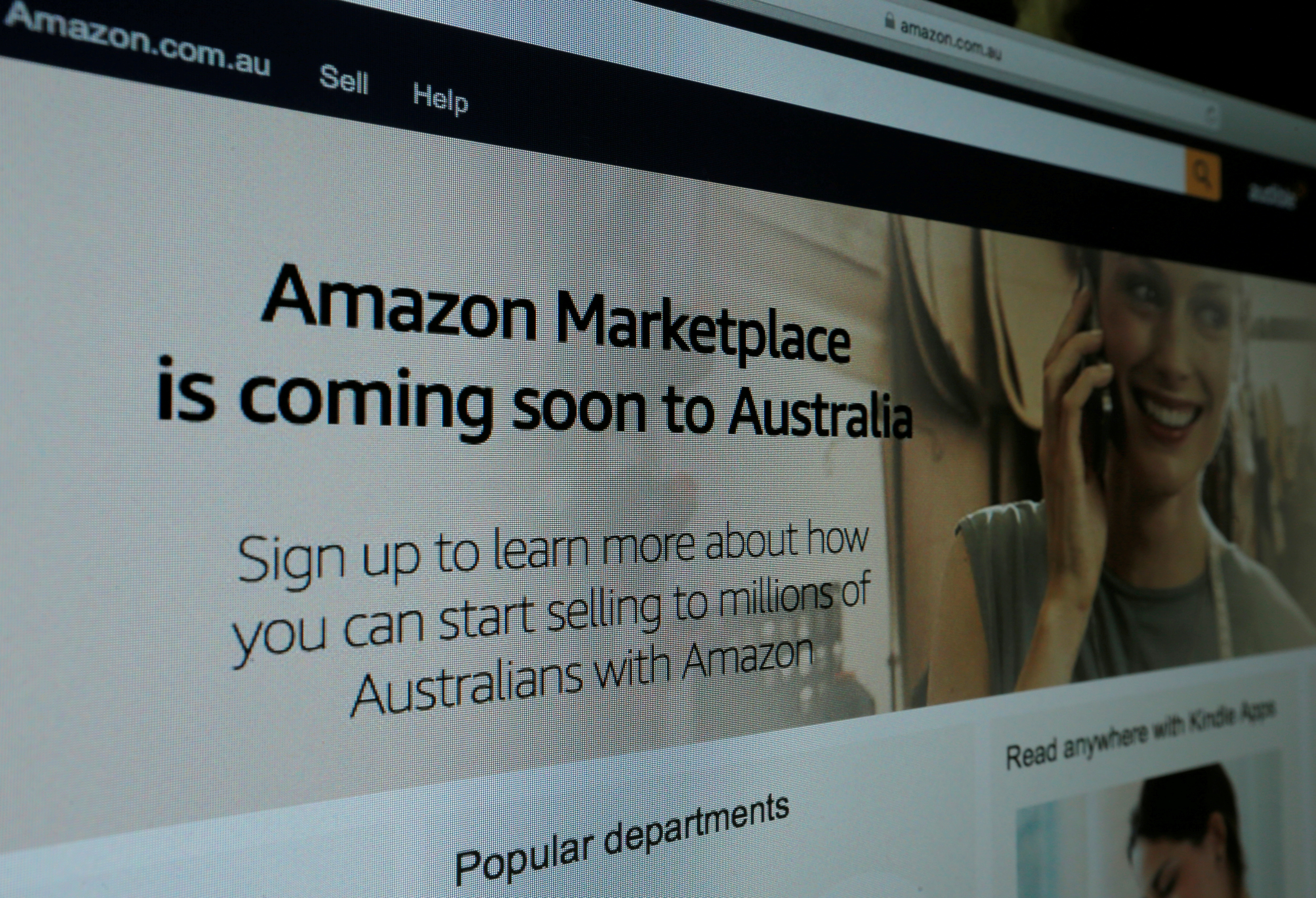 A web page featuring Amazon's Australian URL is pictured in this photo illustration in a Sydney office, Australia, April 20, 2017.   REUTERS/Jason Reed/Illustration Photo