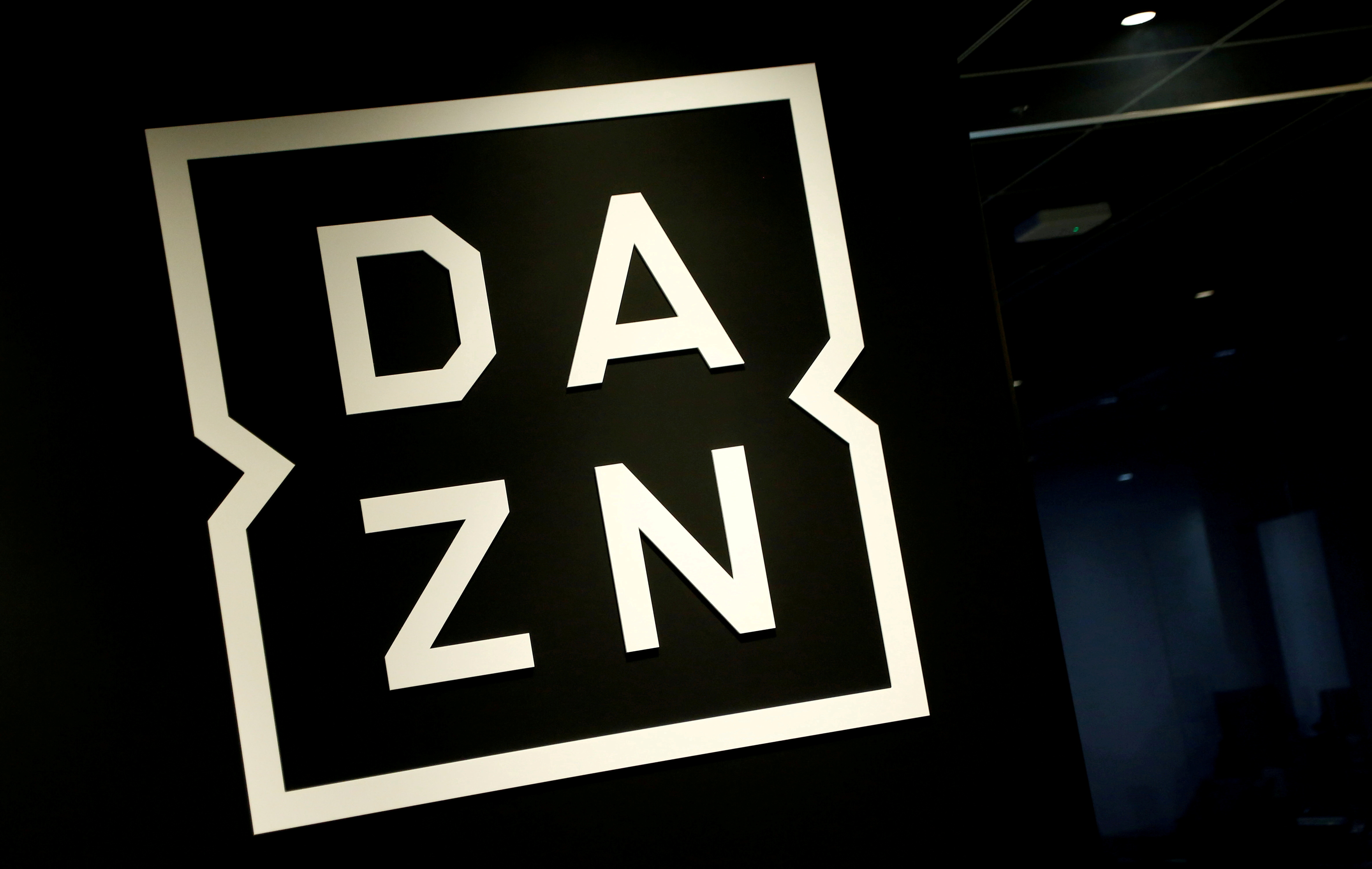 Internet streaming service DAZN's logo is pictured in its office in Tokyo, Japan March 21, 2017. Picture taken on March 21, 2017. REUTERS/Kim Kyung-Hoon