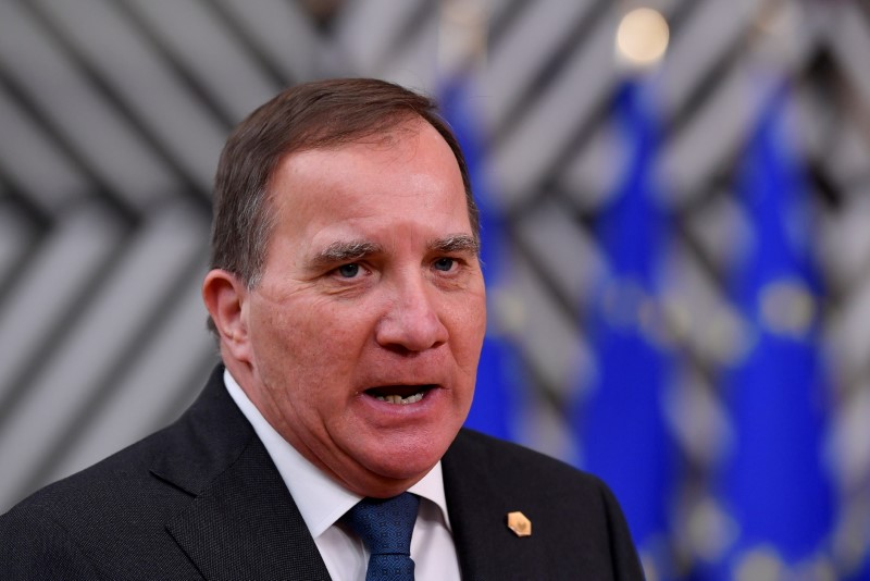 Sweden's Prime Minister Stefan Lofven speaks as he arrives to attend a face-to-face EU summit amid the coronavirus disease (COVID-19) lockdown in Brussels, Belgium December 10, 2020. John Thys/Pool via REUTERS/File Photo