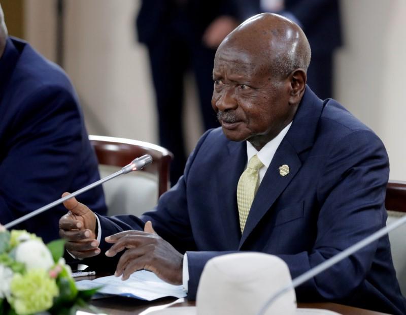 Uganda's President Yoweri Museveni attends a meeting with Russia's President Vladimir Putin on the sidelines of the Russia–Africa Summit in Sochi, Russia October 23, 2019. Sputnik/Mikhail Metzel/Kremlin via REUTERS