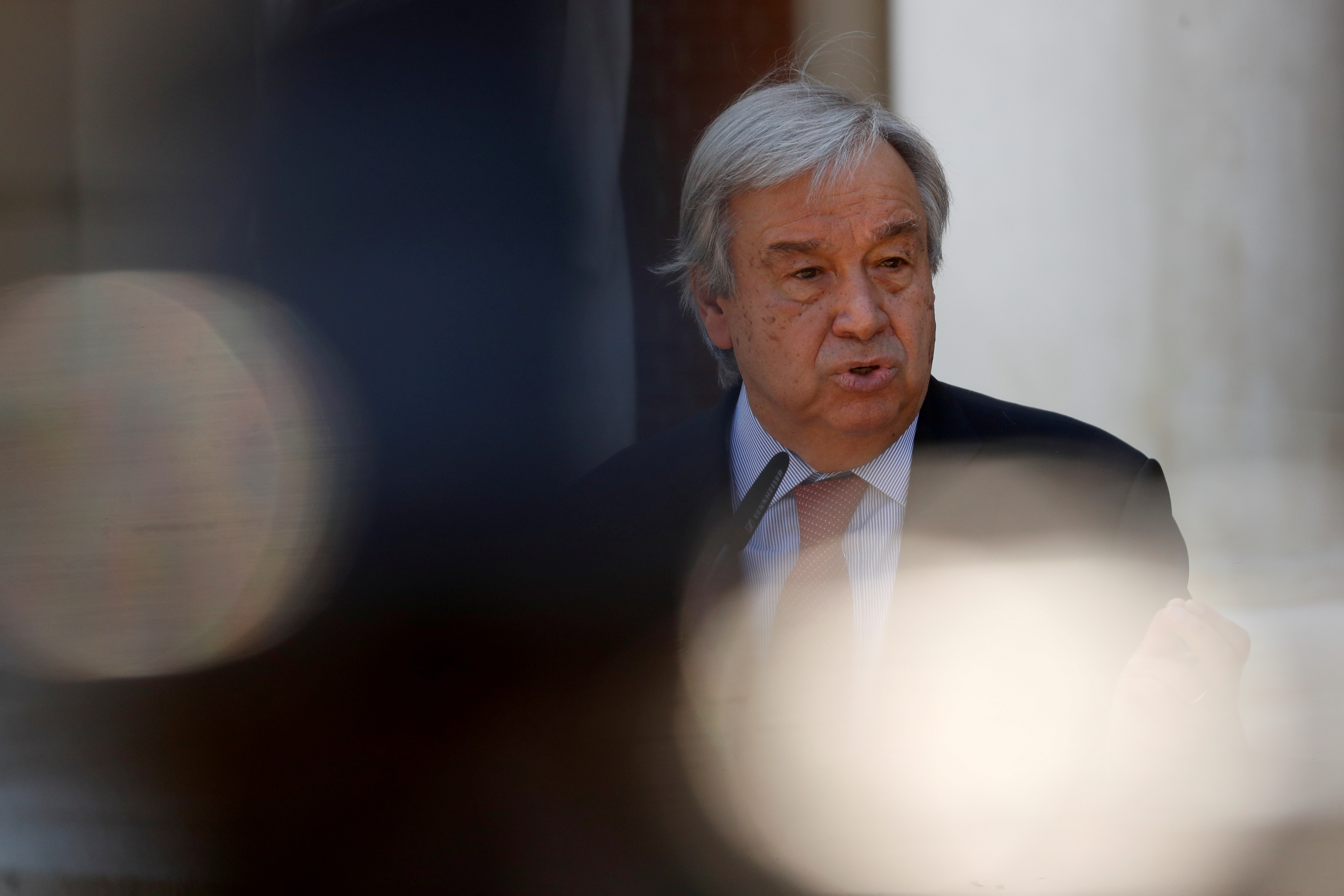 U.N. Secretary-General Antonio Guterres speaks during a news conference before a meeting with Spain's Prime Minister Pedro Sanchez at Moncloa Palace in Madrid, Spain, July 2, 2021. REUTERS/Susana Vera/File Photo