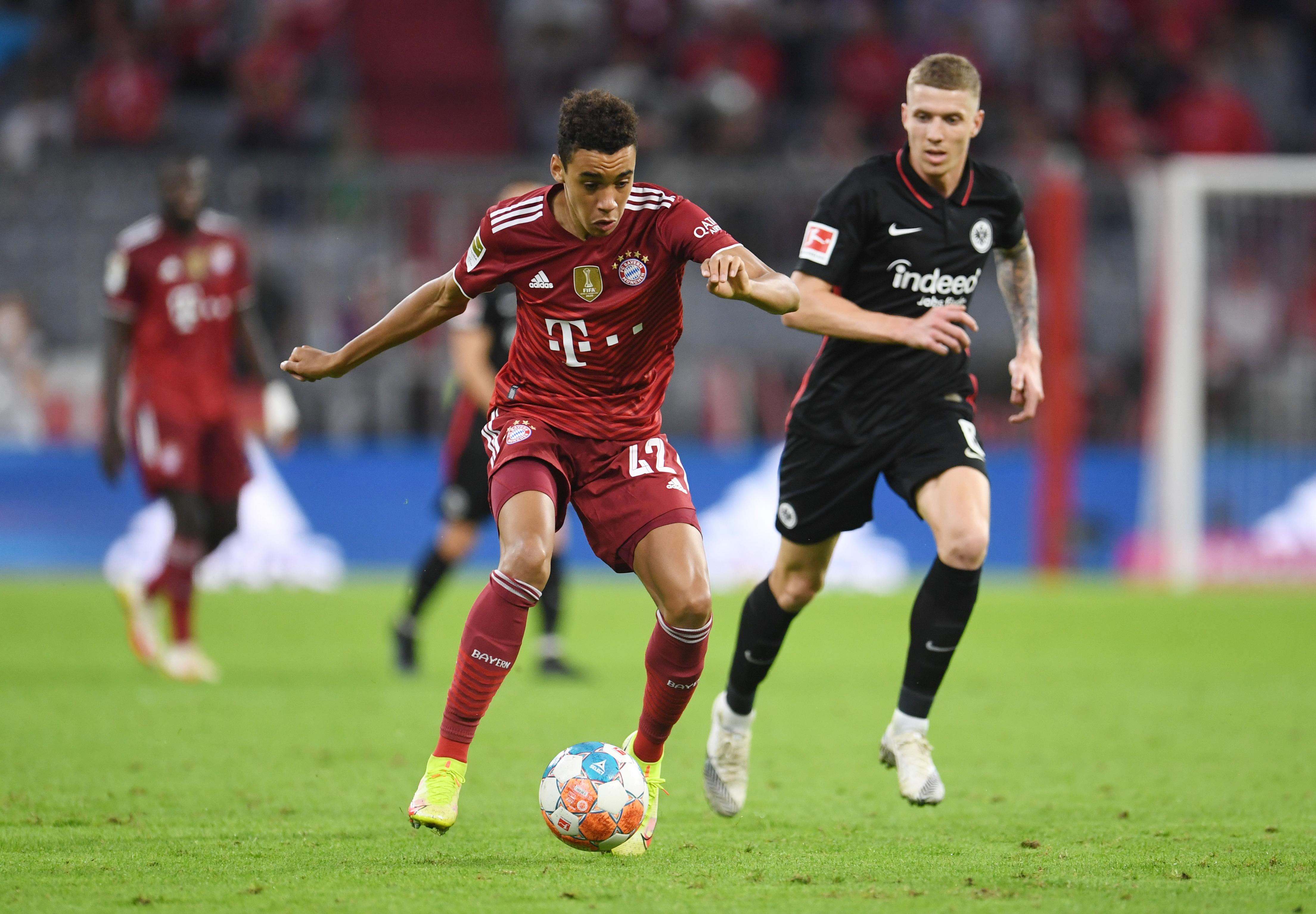 Soccer Football - Bundesliga - Bayern Munich v Eintracht Frankfurt - Allianz Arena, Munich, Germany - October 3, 2021 Bayern Munich's Jamal Musiala in action REUTERS/Andreas Gebert