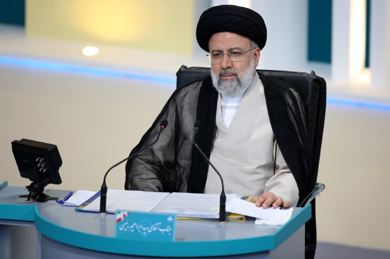 Presidential candidate Ebrahim Raisi attends an election debate at a television studio, in Tehran, Iran June 8, 2021. Morteza Fakhri Nezhad/YJC/WANA (West Asia News Agency) via REUTERS