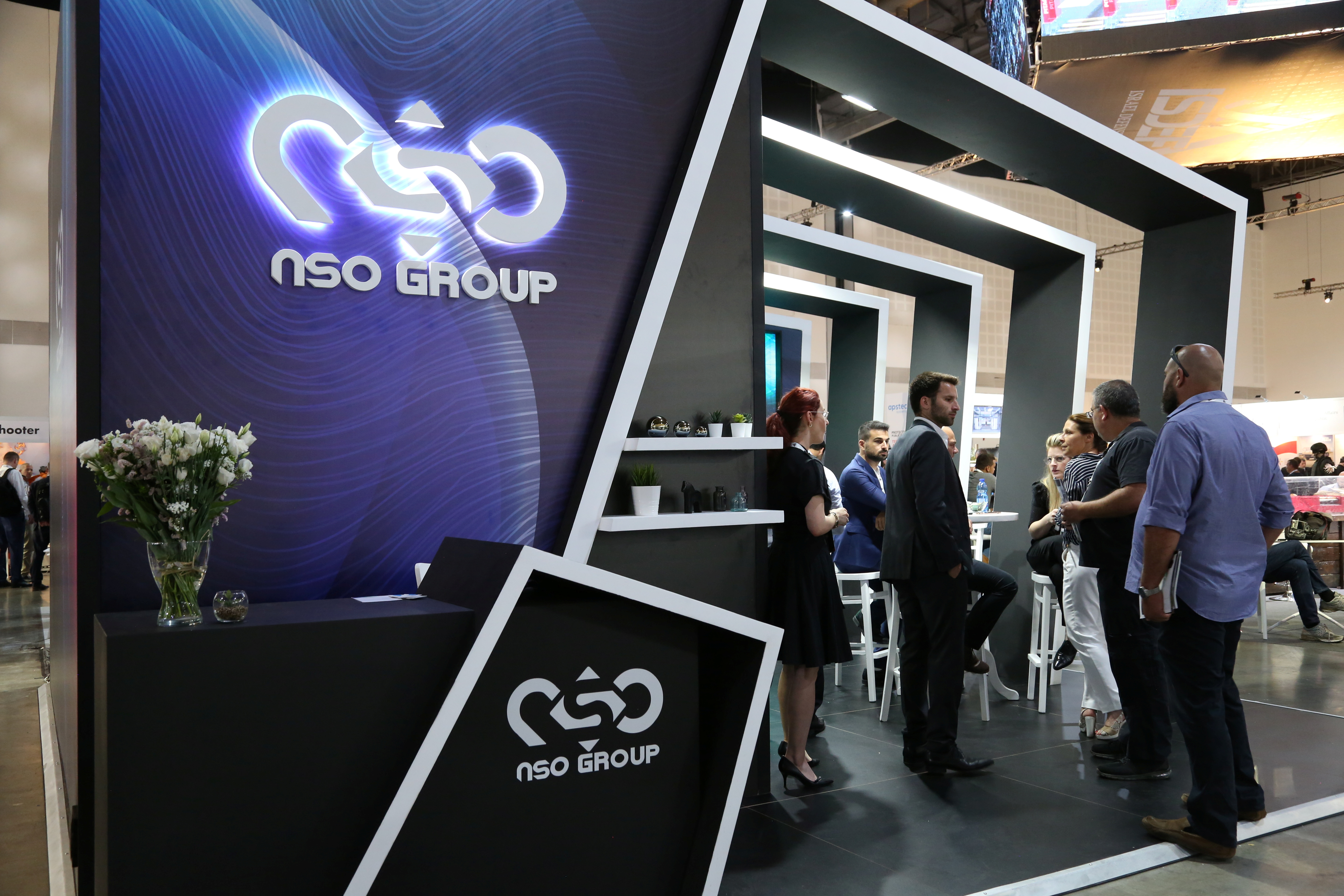 Israeli cyber firm NSO Group's exhibition stand is seen at