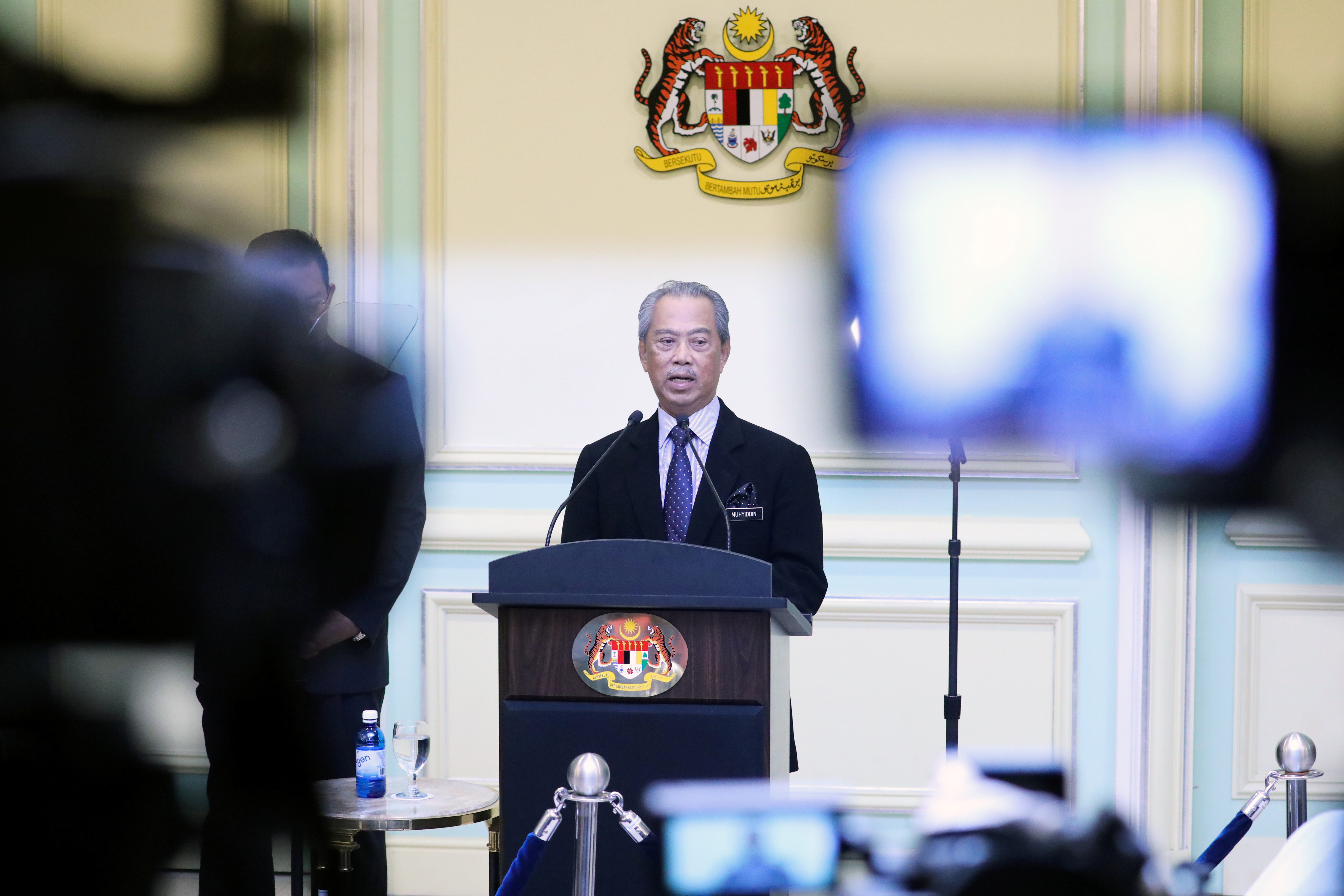 Malaysia's Prime Minister Muhyiddin Yassin speaks during his cabinet announcement in Putrajaya, Malaysia March 9, 2020. REUTERS/Lim Huey Teng