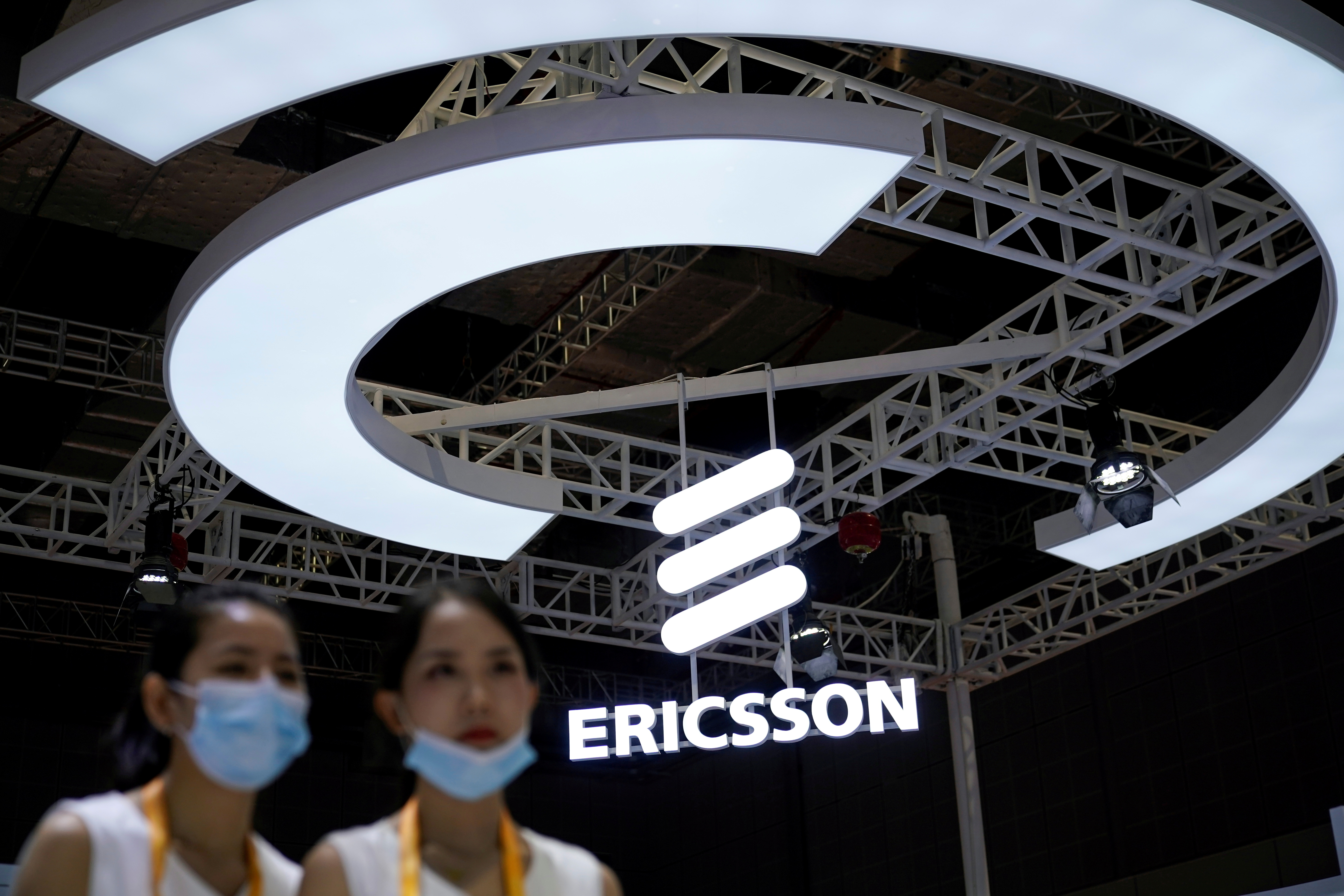 An Ericsson sign is seen at the third China International Import Expo (CIIE) in Shanghai, China November 5, 2020. REUTERS/Aly Song/File Photo