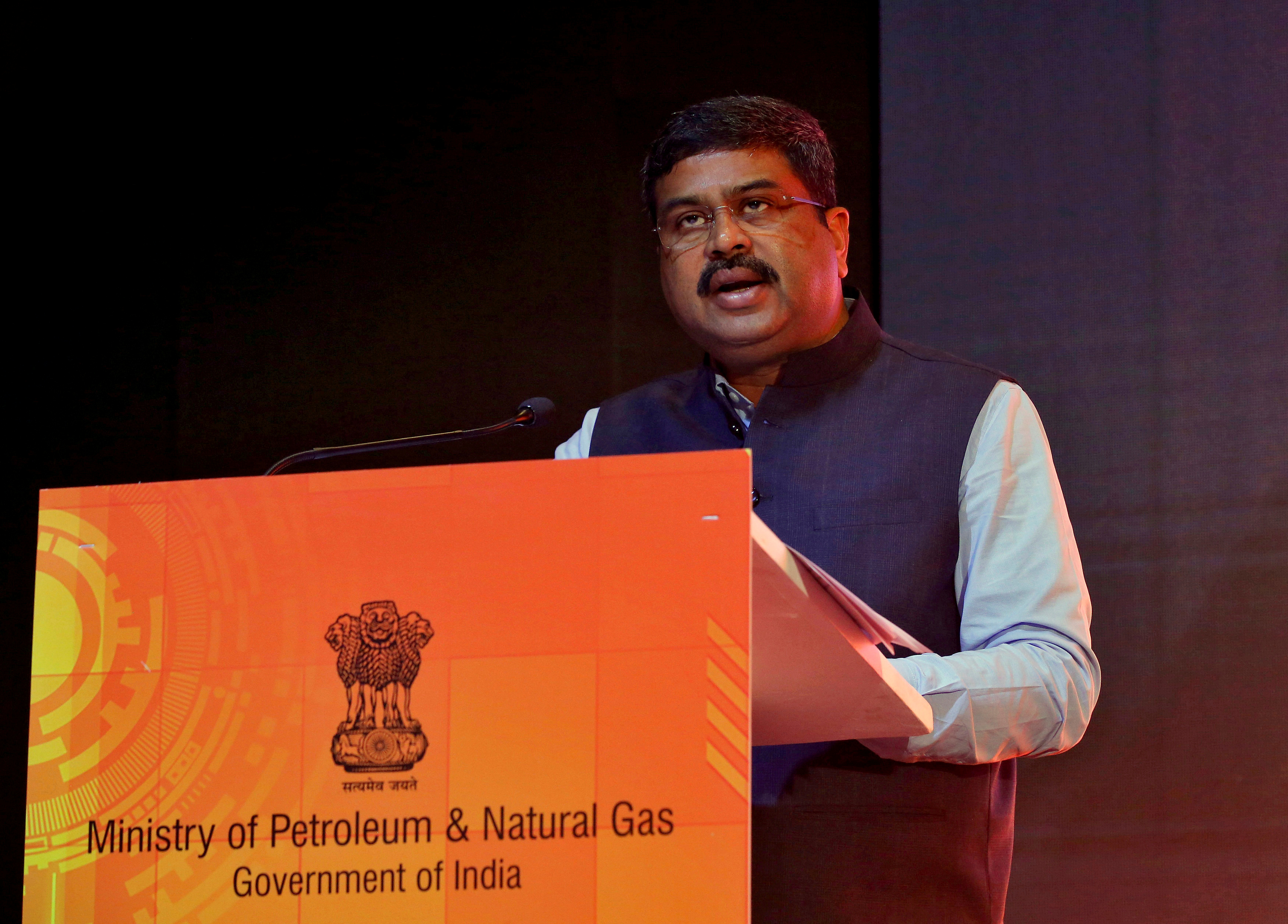India's Oil Minister Dharmendra Pradhan speaks at a road show organised by the Directorate General  of Hydrocarbon (DGH) in Mumbai, India, October 26, 2017. REUTERS/Shailesh Andrade