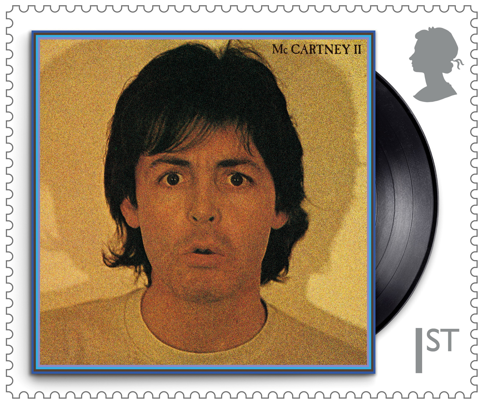A still of a Royal Mail stamp created in honor of Sir Paul McCartney shows the cover of his studio album