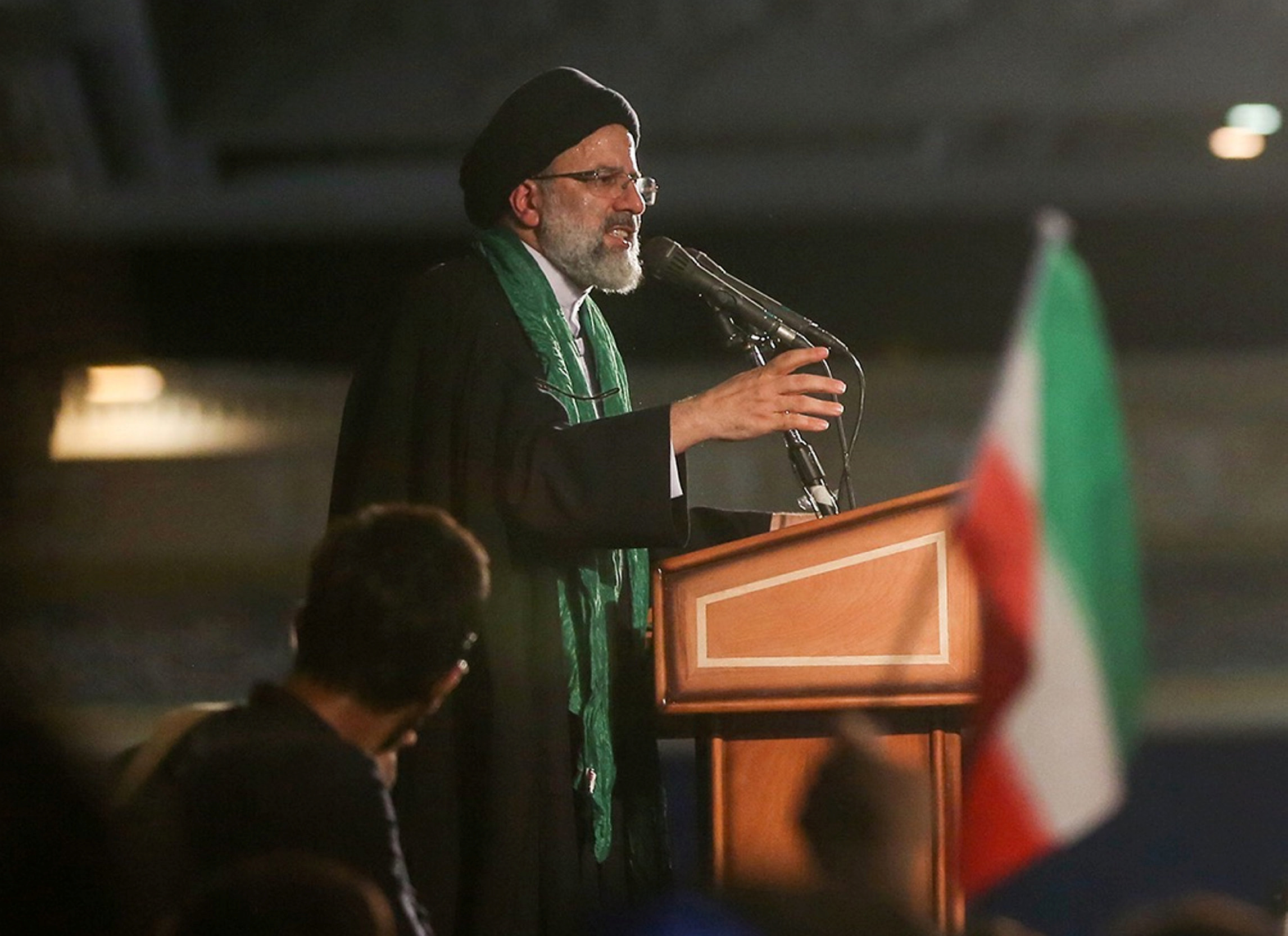 Iranian Presidential candidate Ebrahim Raisi speaks during a campaign meeting at the Mosalla mosque in Tehran, Iran, May 16, 2017. Picture taken May 16, 2017. TIMA via REUTERS